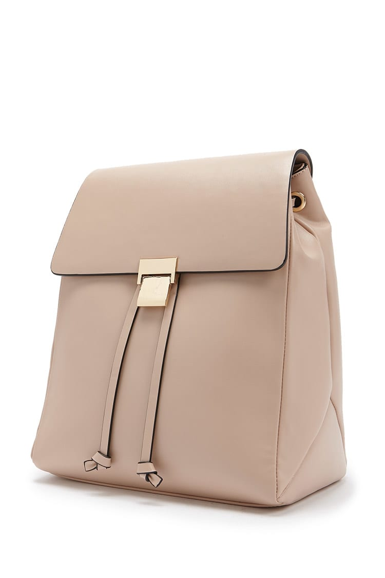 F21 Faux Leather Drawstring Backpack