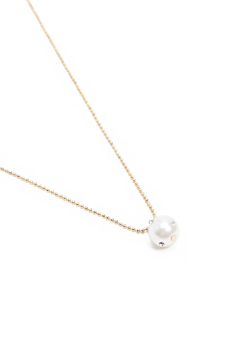 F21 Faux Pearl Beaded Chain Necklace