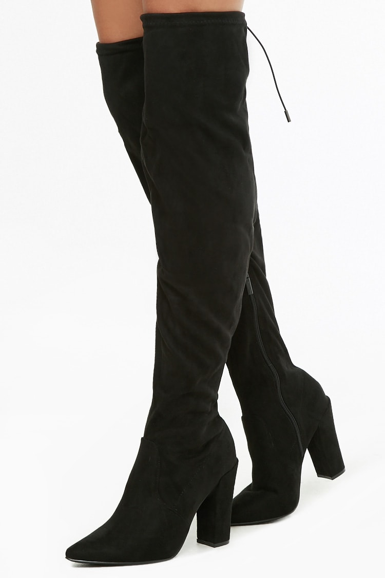 F21 Faux Suede Over-the-Knee Boots
