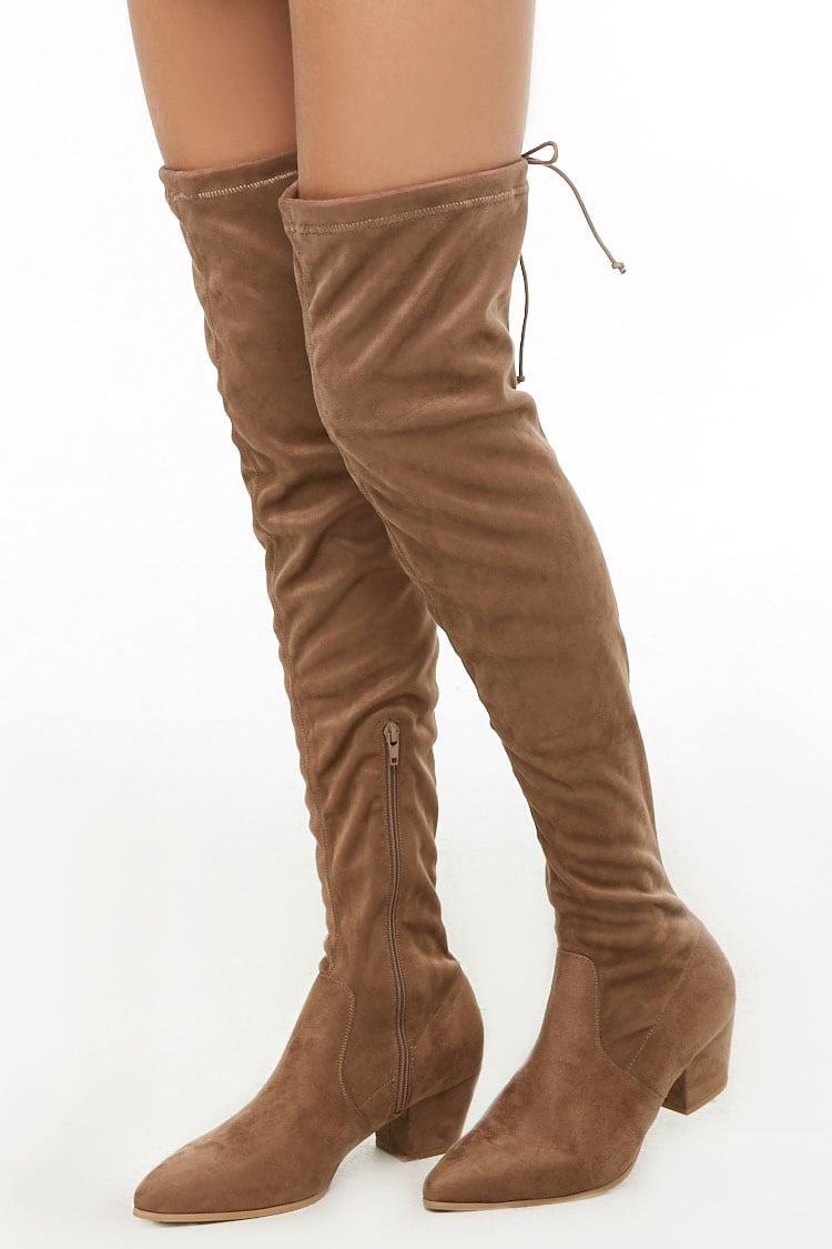 F21 Faux Suede Over-the-Knee Sock Boot