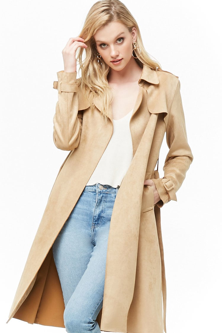 F21 Faux Suede Trench Coat
