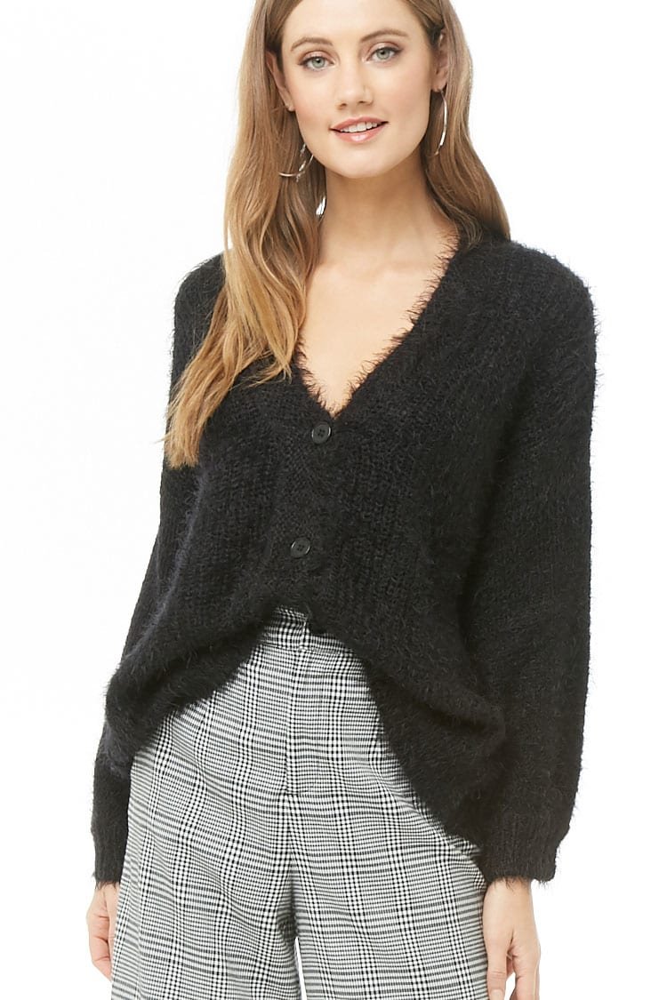 F21 Feathered Button-Front Cardigan