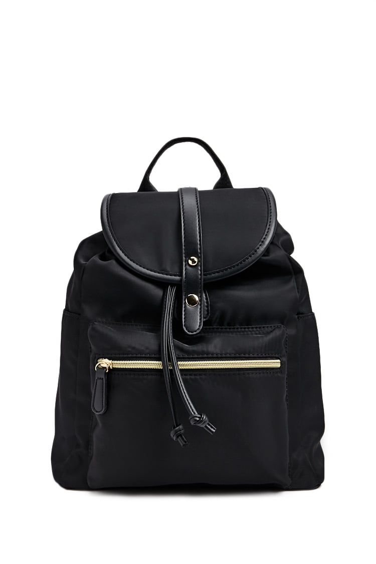 F21 Flap Top Drawstring Backpack