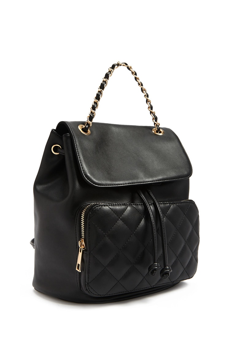 F21 Flap Top Faux Leather Backpack