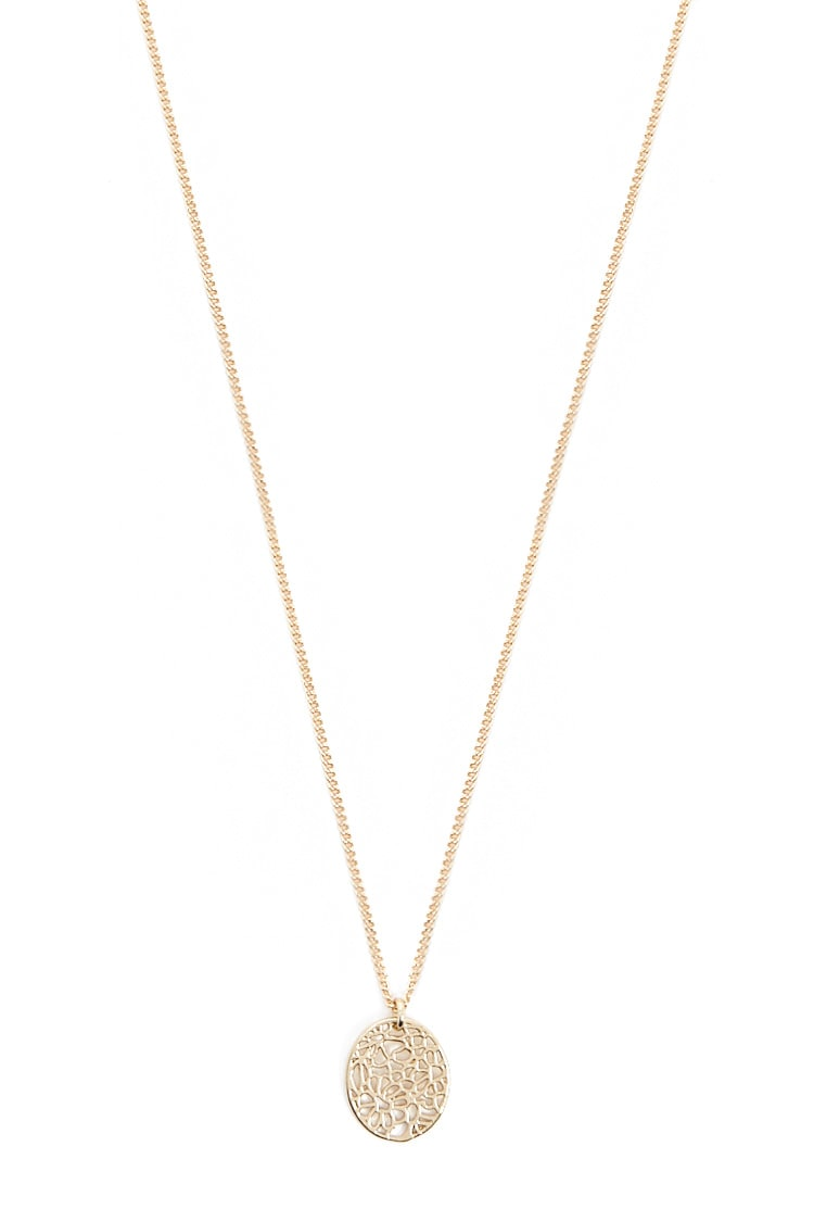 F21 Floral Charm Necklace