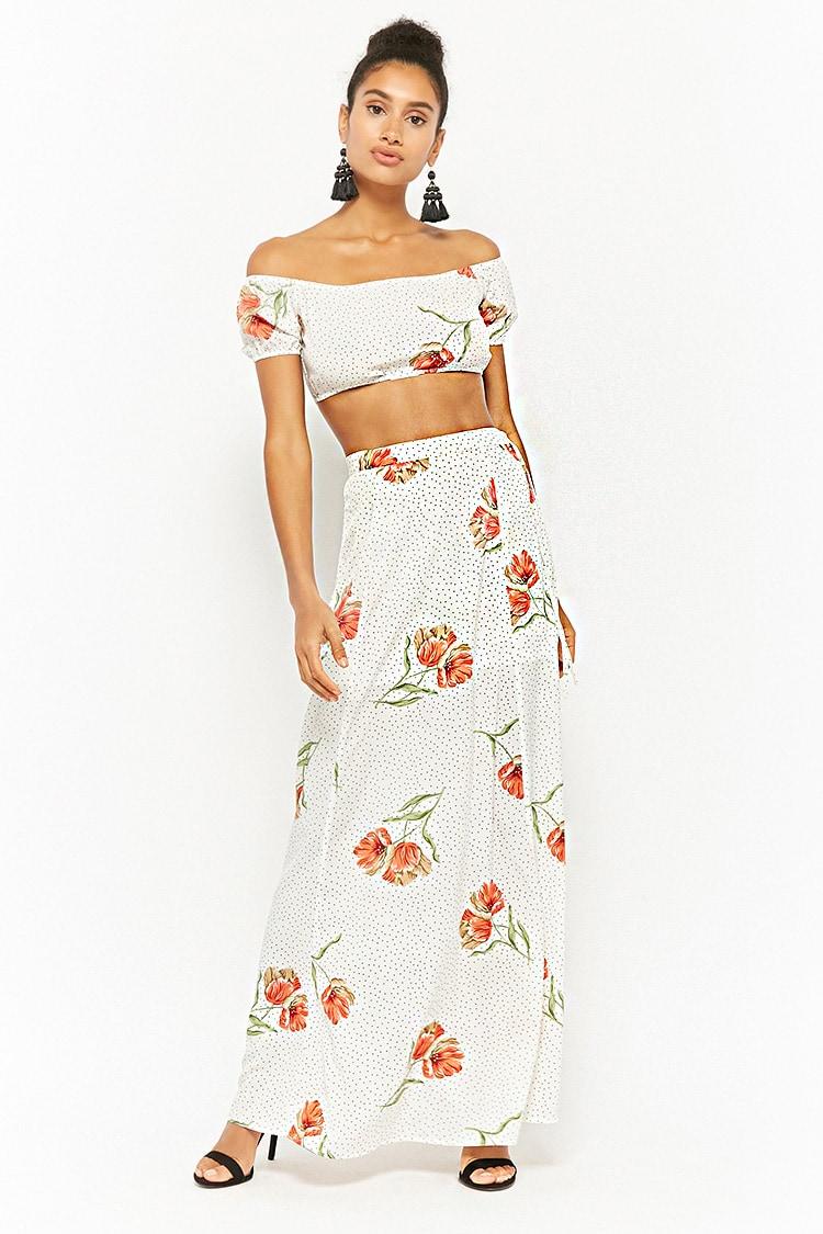 F21 Floral Pin Dot Crop Top & Maxi Skirt Set