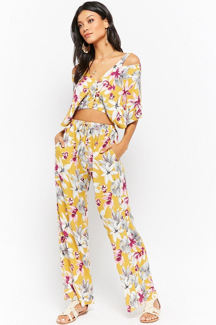 F21 Floral Print Crop Top & Pants Set