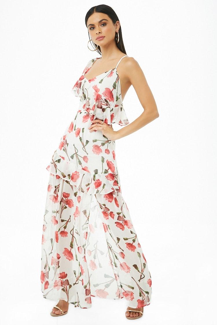 F21 Floral Ruffle-Trim Maxi Dress