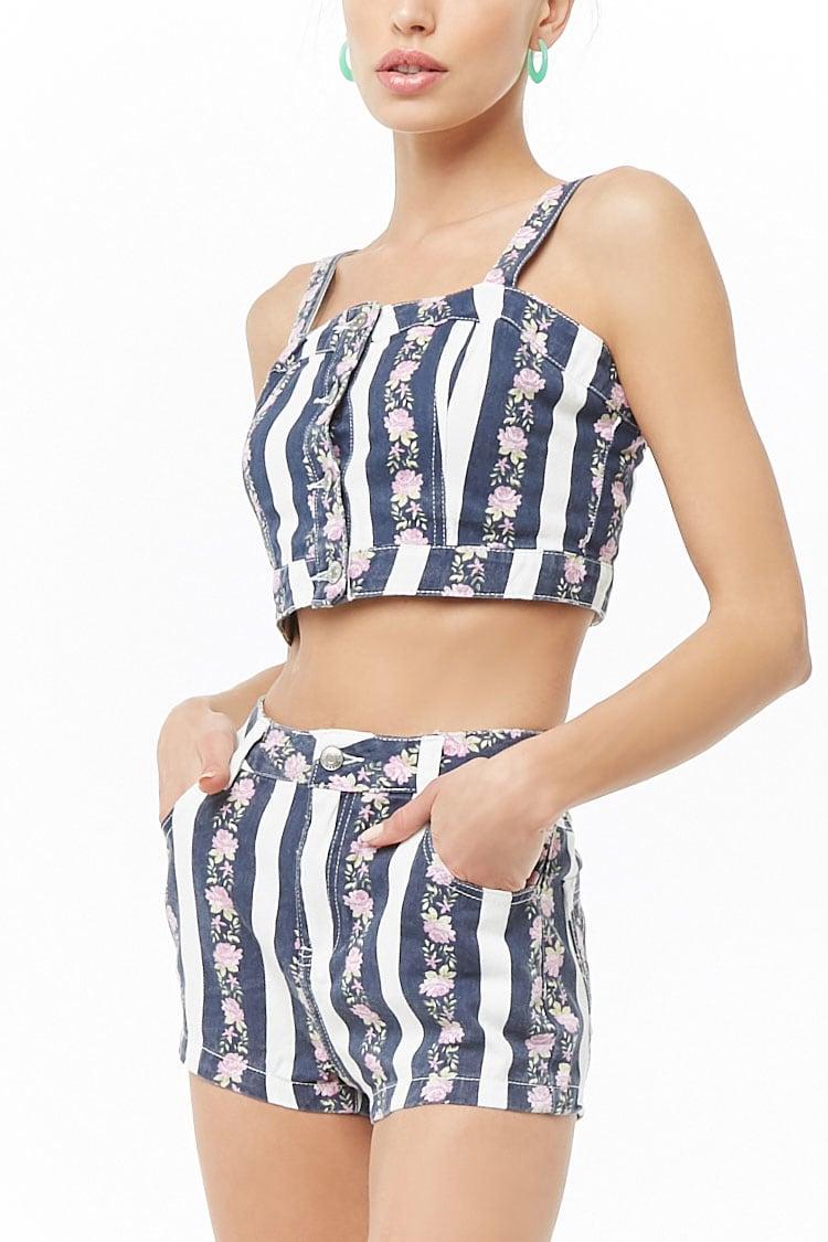F21 Floral Striped Denim Shorts