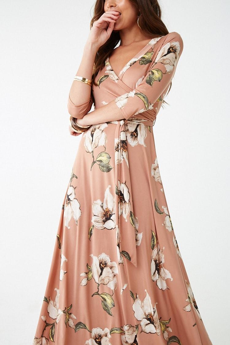F21 Floral Surplice Maxi Dress