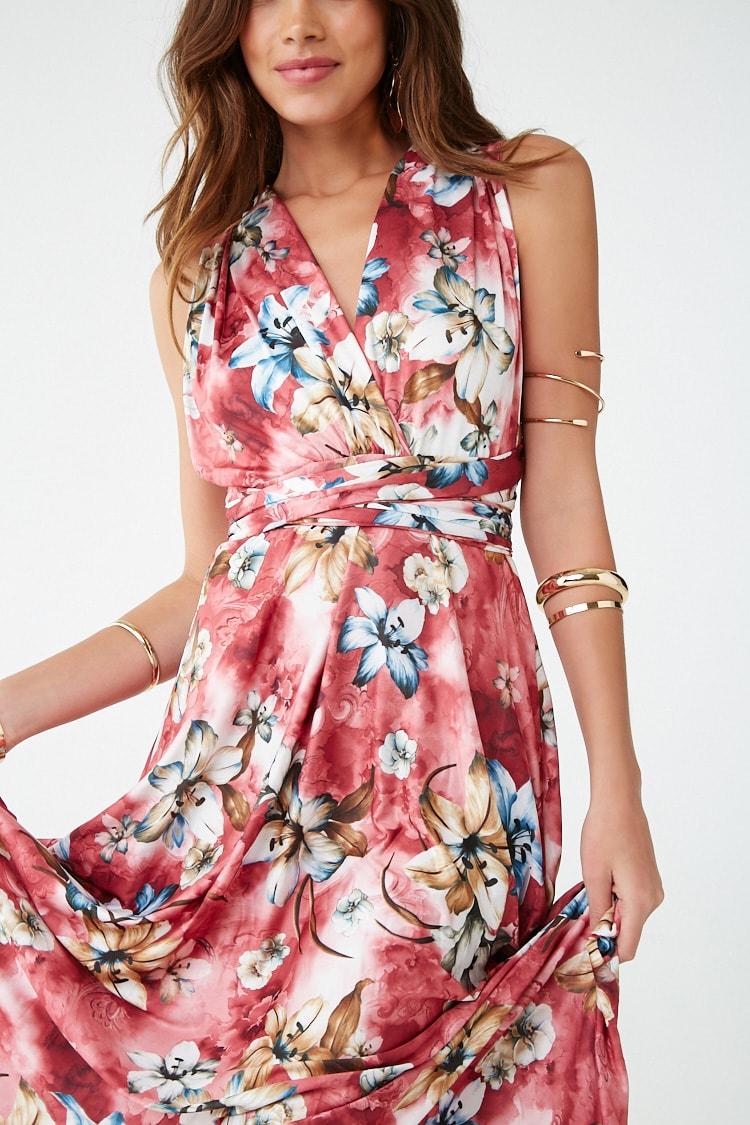 F21 Floral Wraparound Halter Dress