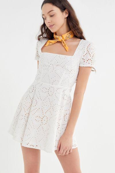 Flynn Skye Maiden Eyelet Square Neck Mini Dress
