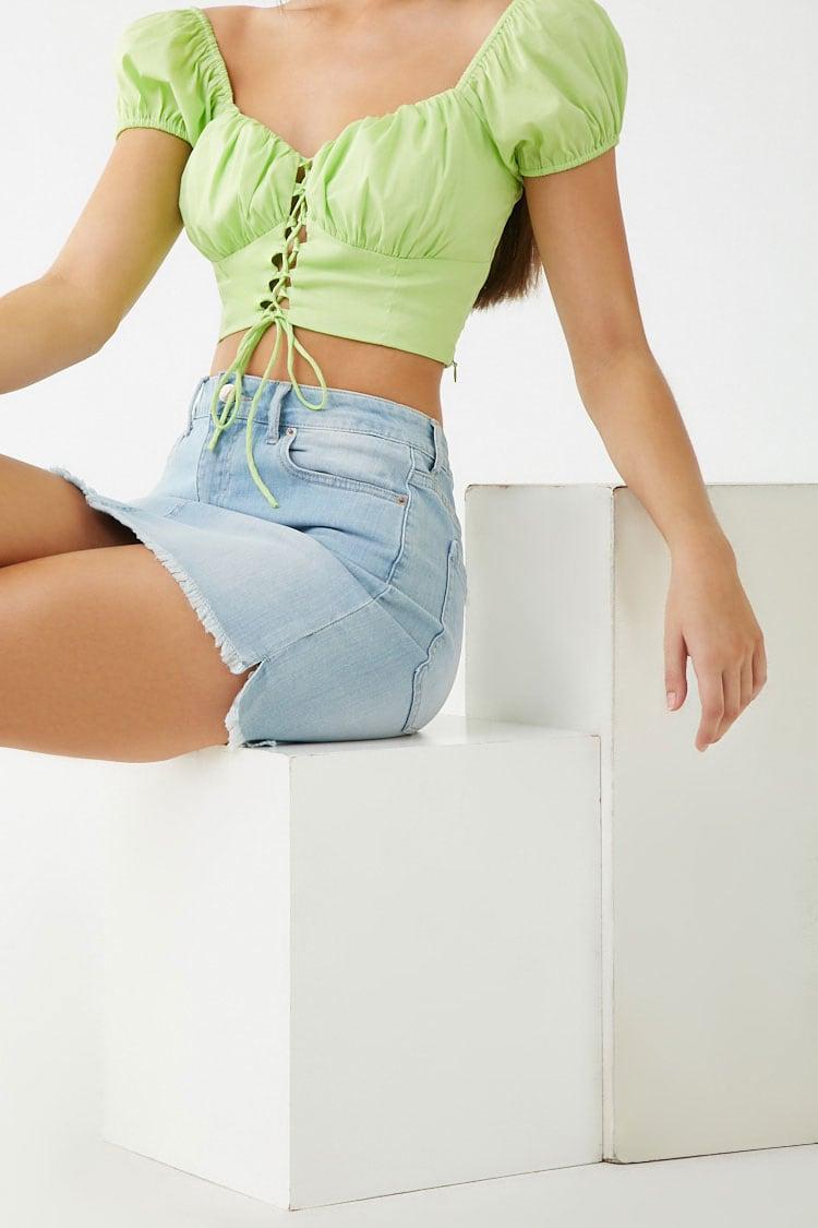 F21 Frayed Denim Mini Skirt