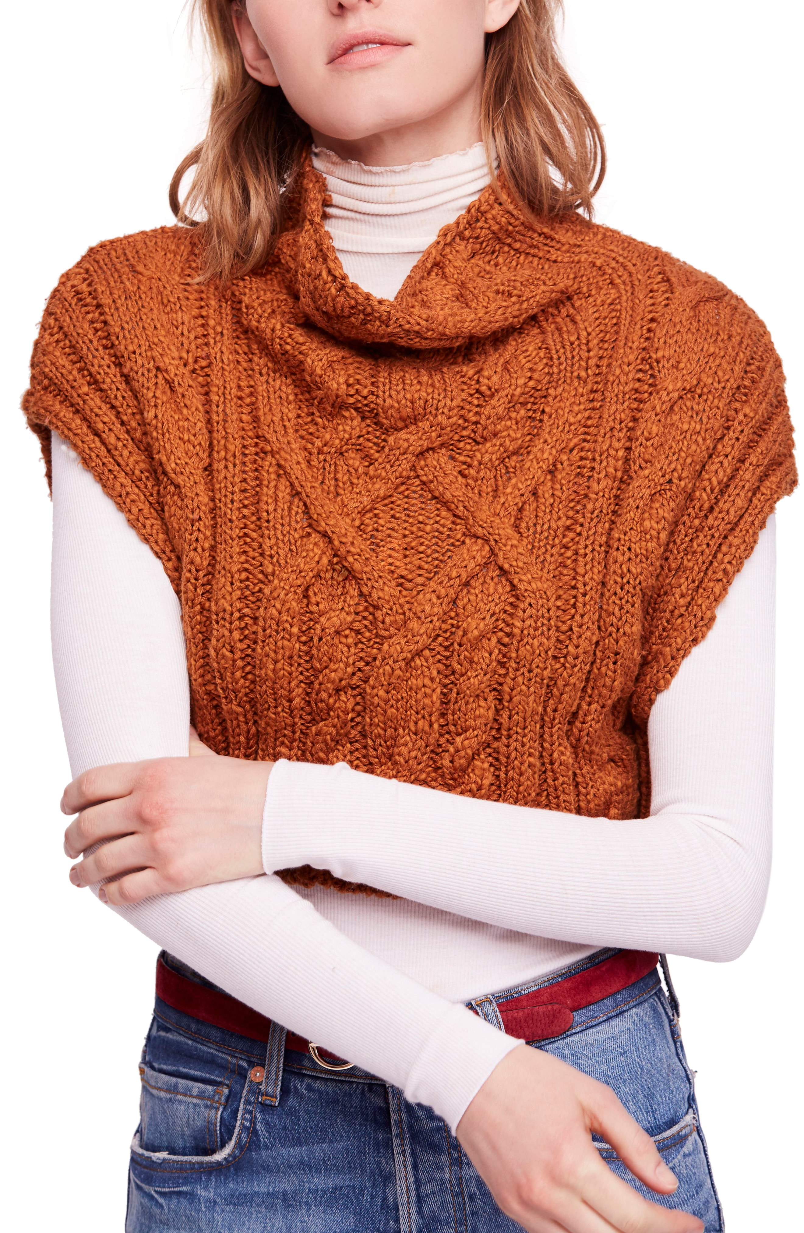 Free People Frosted Cable Sweater Vest
