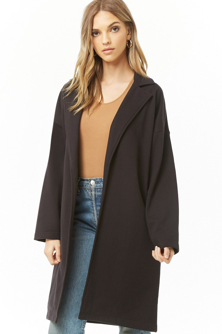 F21 French Terry Trench Coat