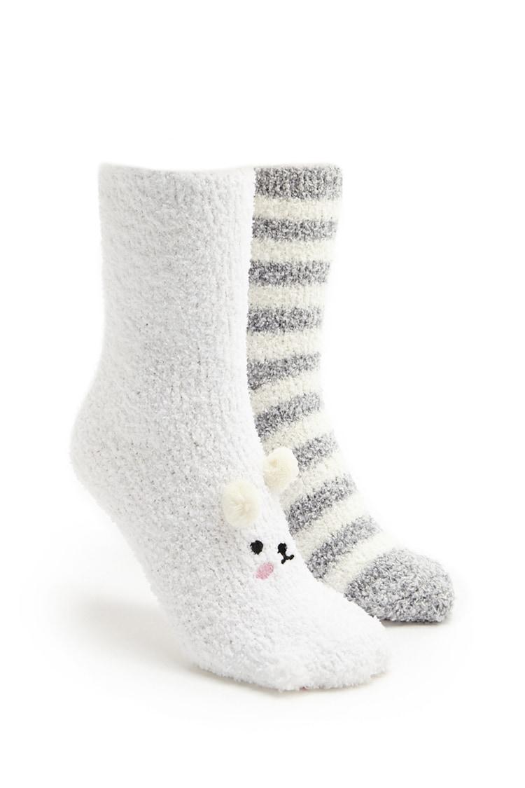 F21 Fuzzy Crew Socks - 2 Pack