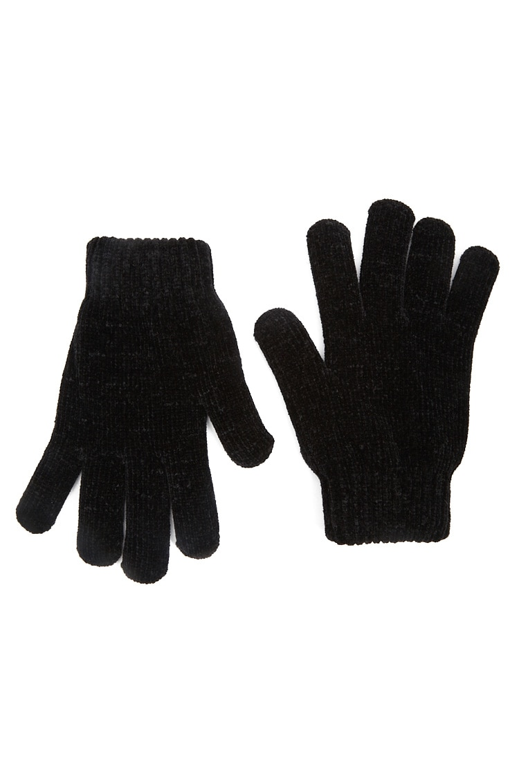 F21 Fuzzy-Lined Chenille Gloves