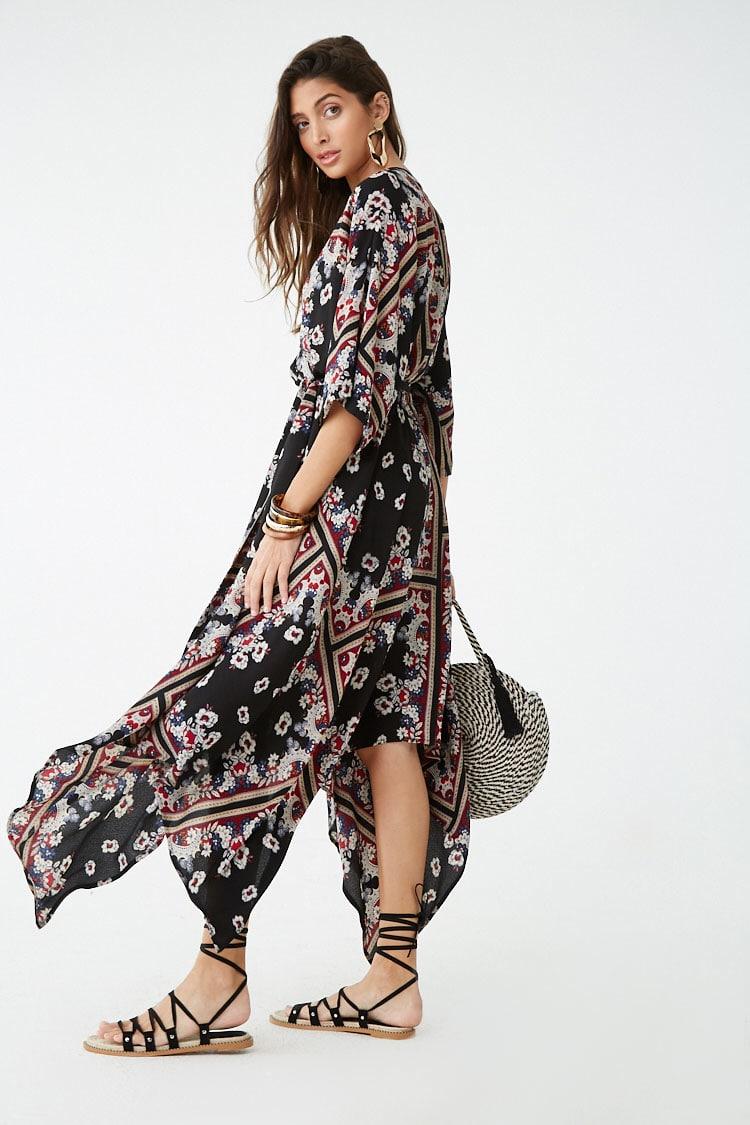 F21 Geo Floral Print Maxi Dress