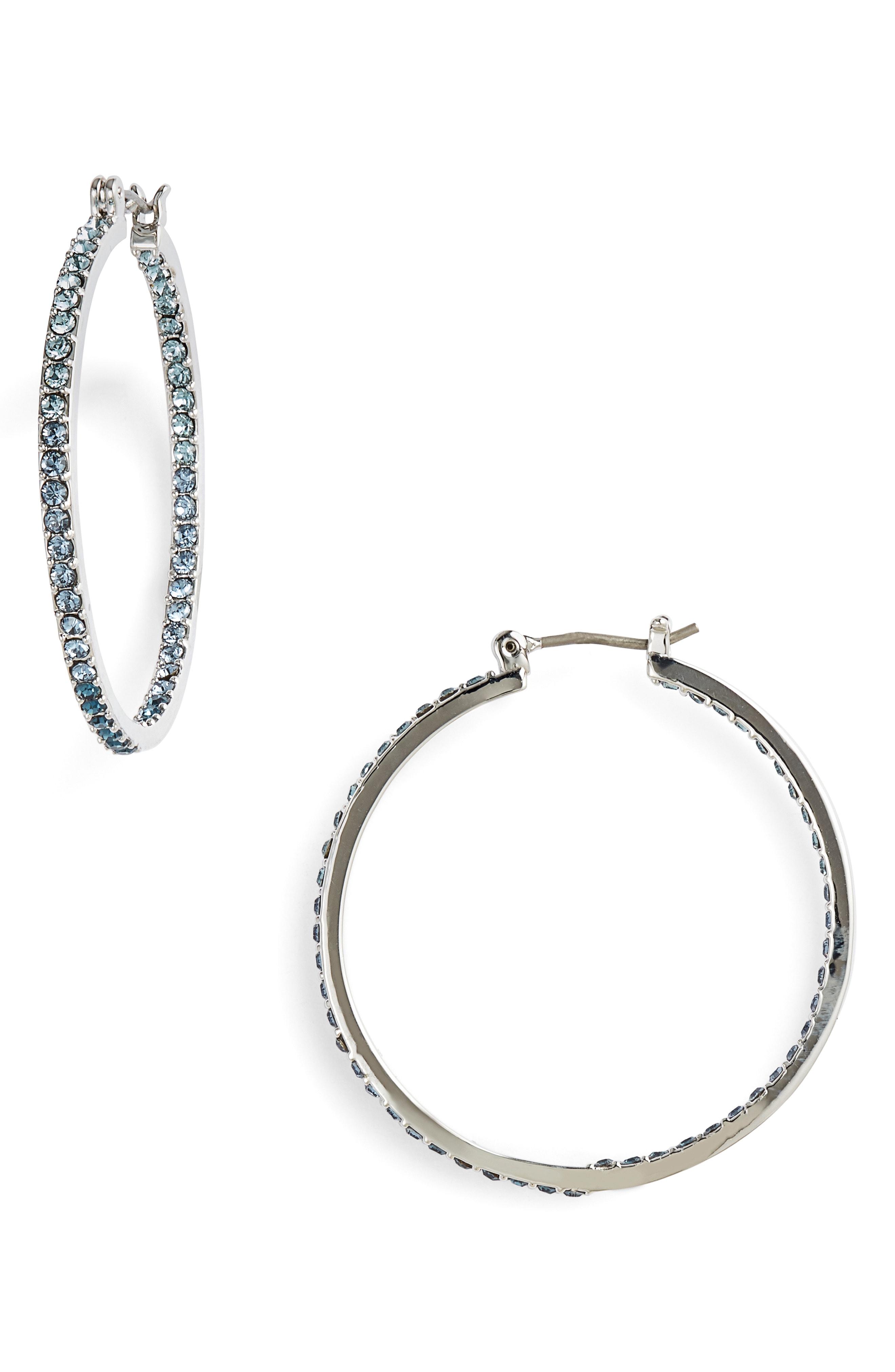Givenchy Pav Crystal Hoop Earrings