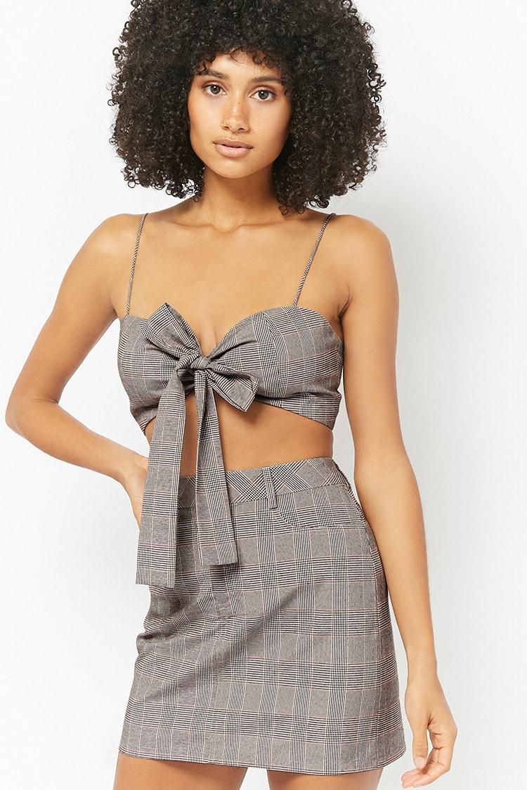 F21 Glen Plaid Cropped Cami & Mini Skirt Set