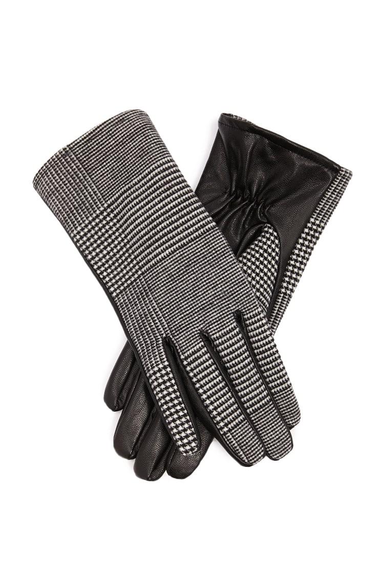 F21 Glen Plaid Faux Leather Gloves