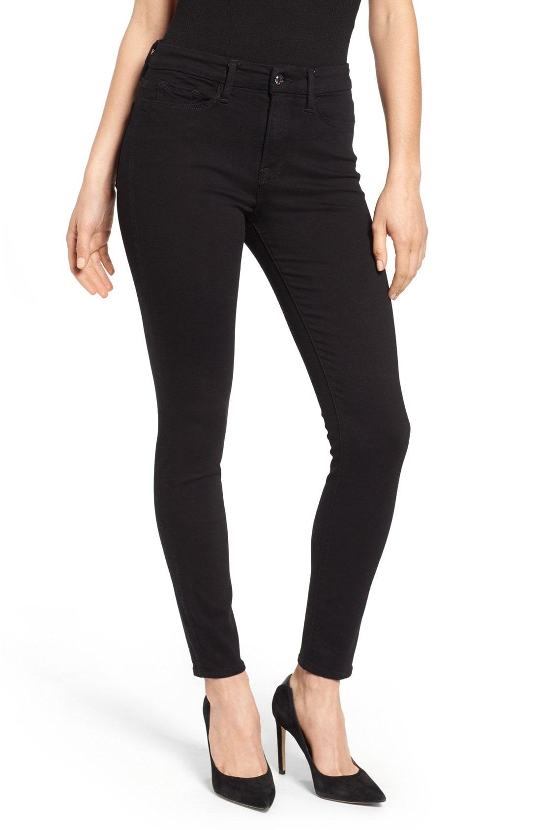 Good American Good Legs High Rise Skinny Jeans (Black 001) (Regular & Plus Size)
