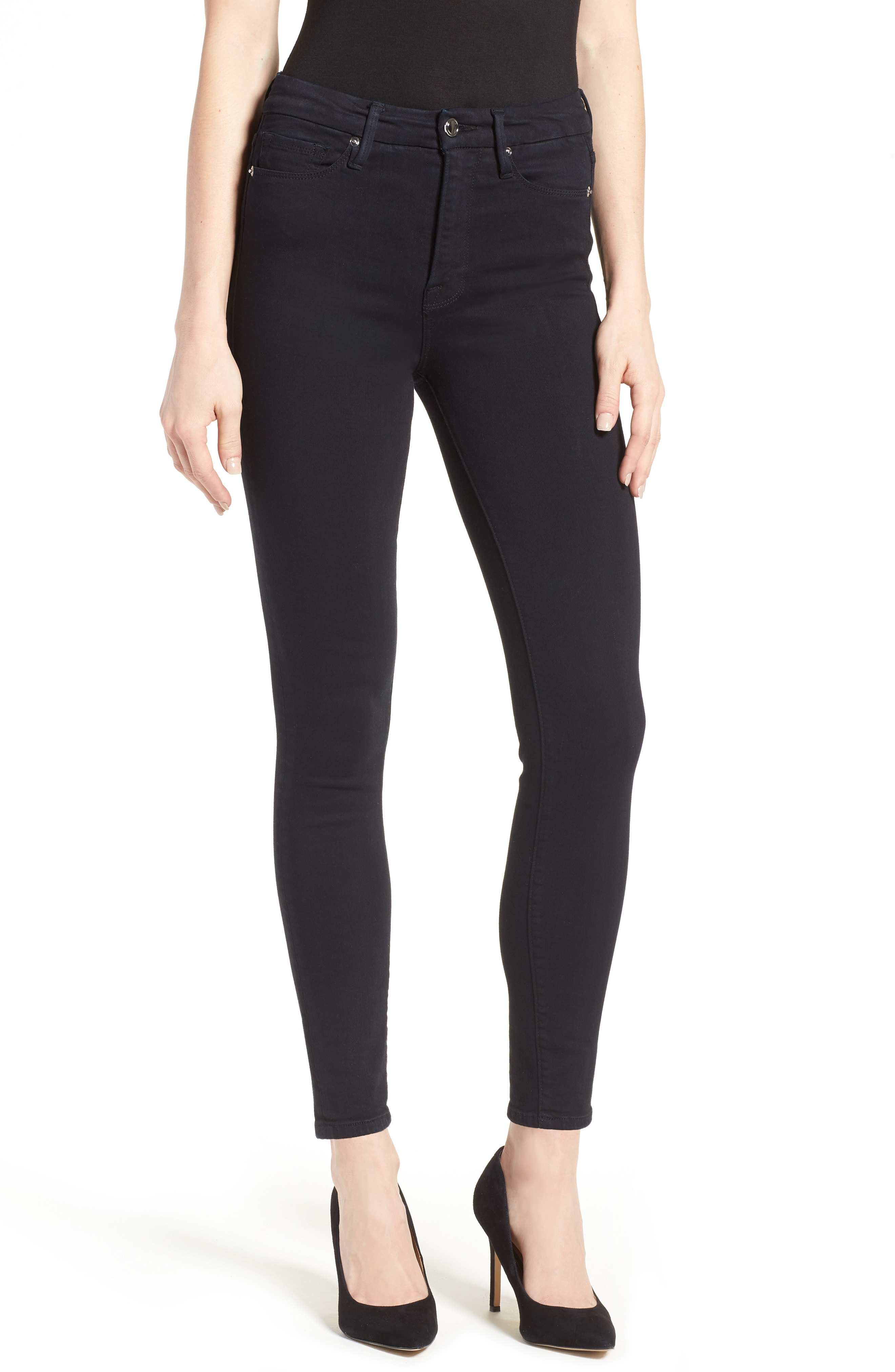 Good American Good Waist High Rise Skinny Jeans (Black 004)