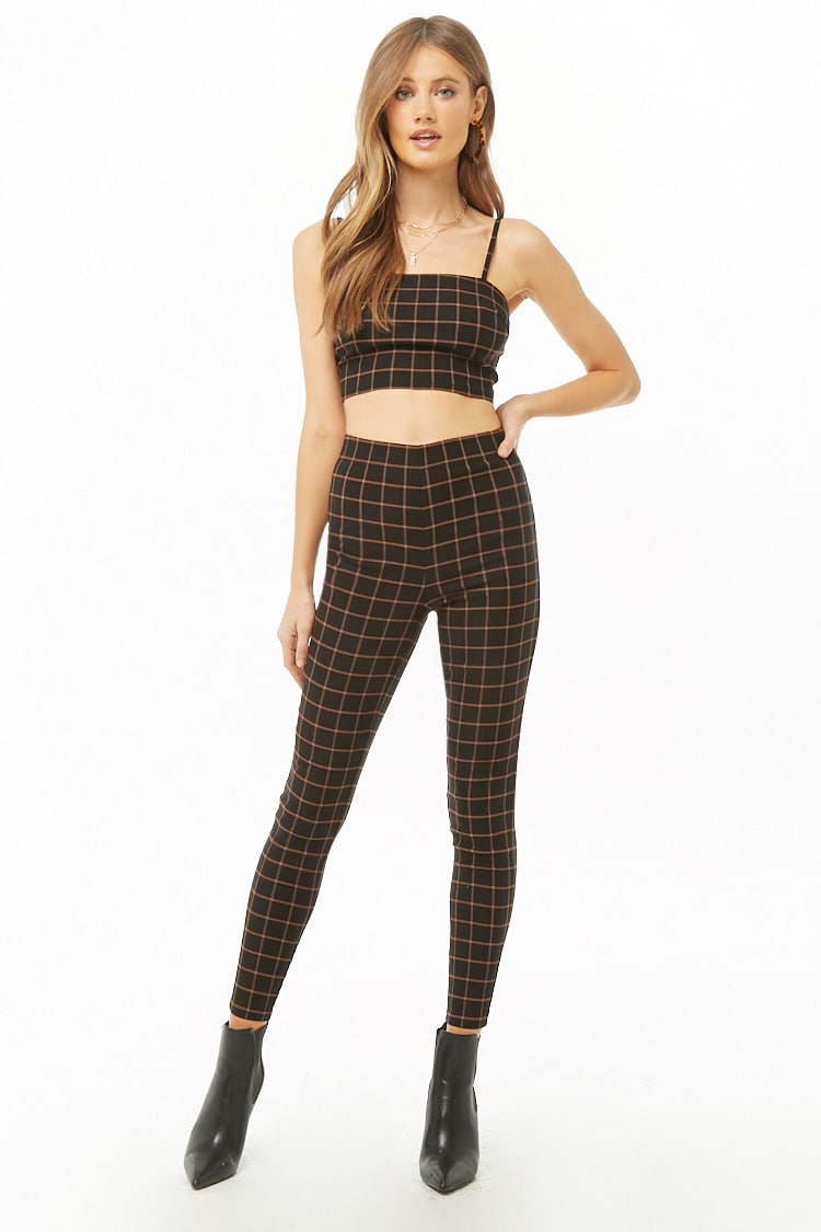 F21 Grid Print Crop Top & Pants Set