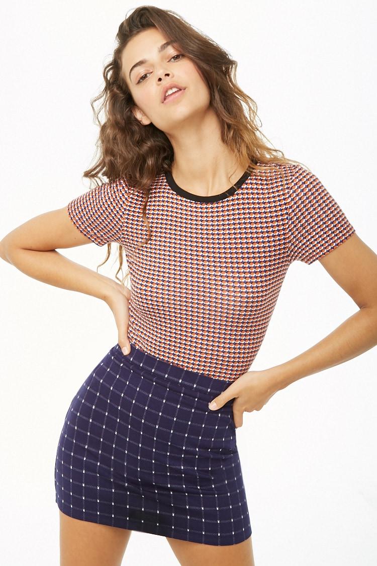 F21 Grid Print Mini Skirt