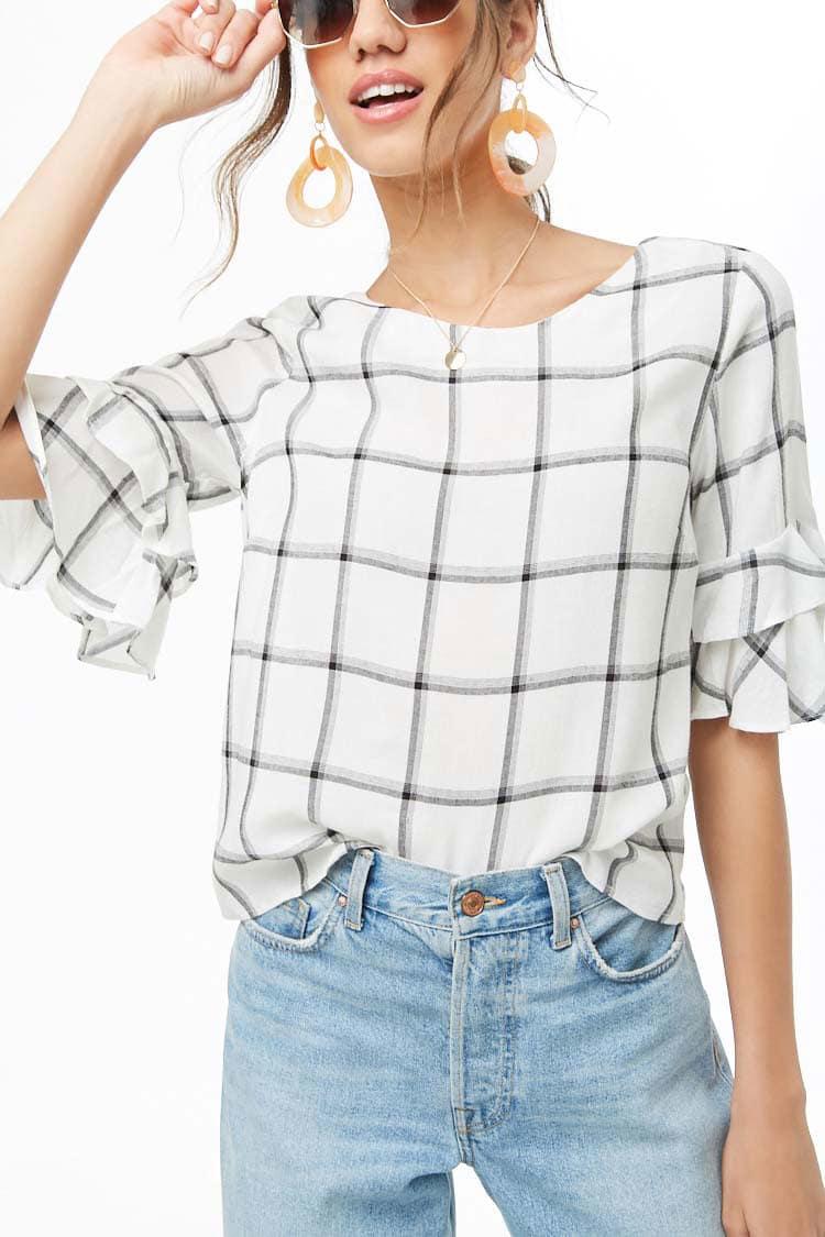 LOVE21 Grid Print Tiered-Sleeve Top