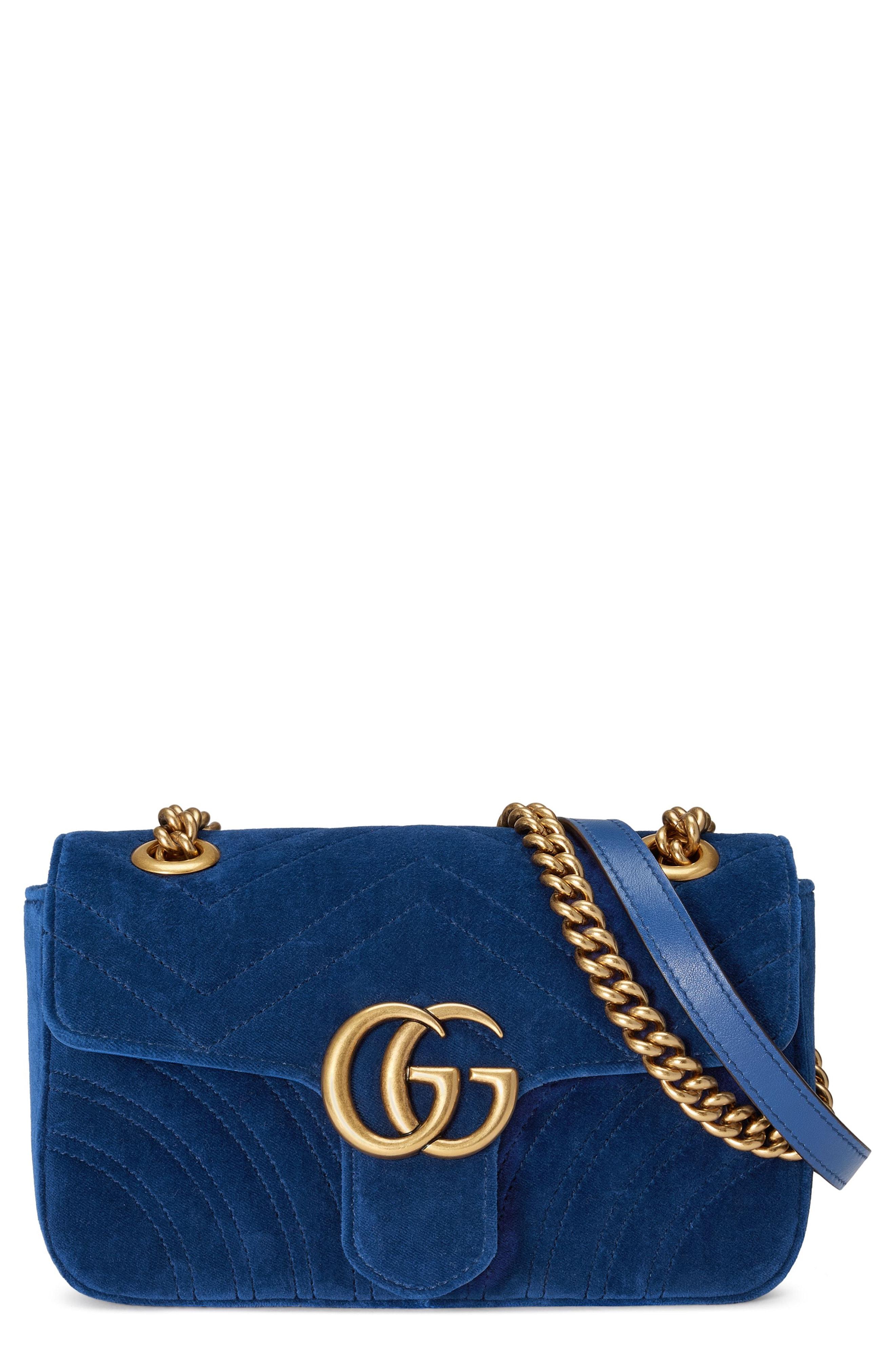 Gucci Small GG Marmont 2.0 Matelass Velvet Shoulder Bag
