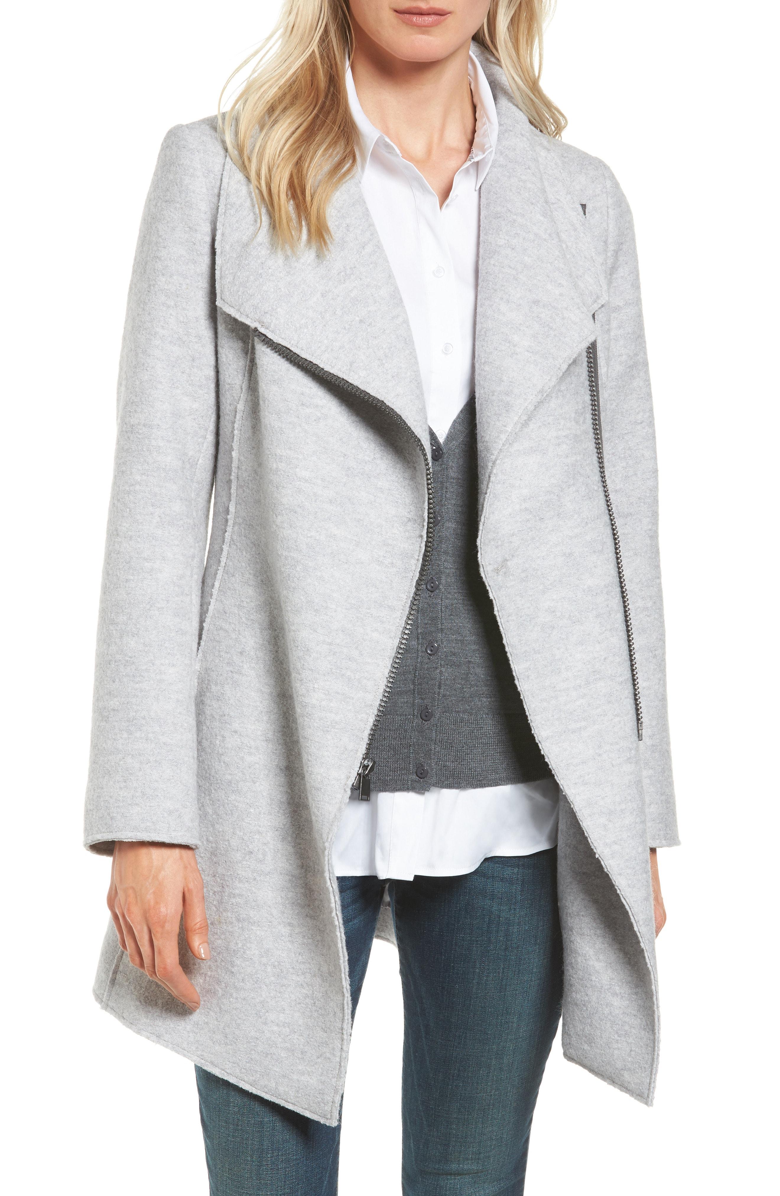 Halogen Asymmetrical Zip Boiled Wool Blend Coat (Regular & Petite)