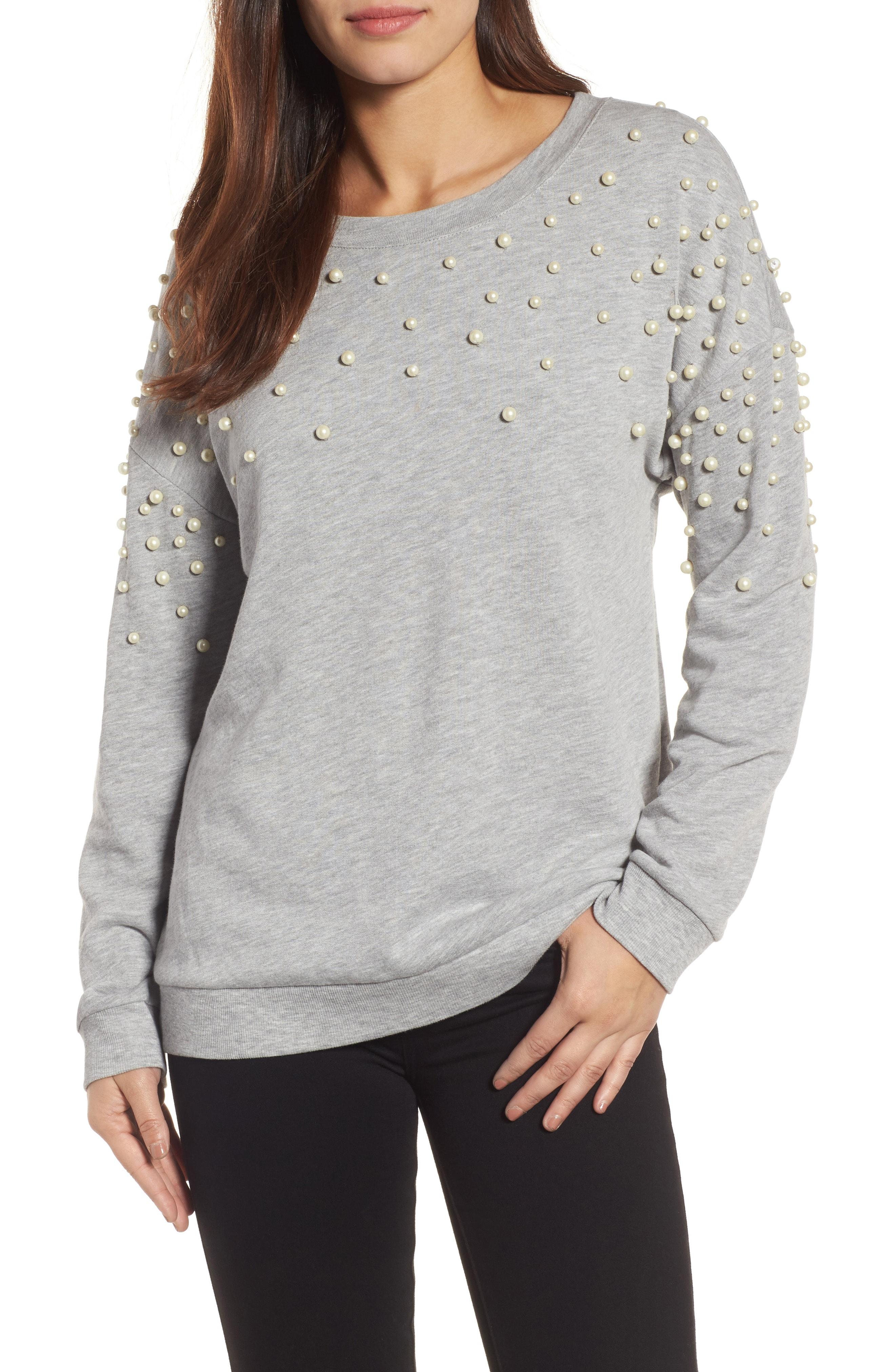 Halogen Beaded Sweatshirt (Regular & Petite)