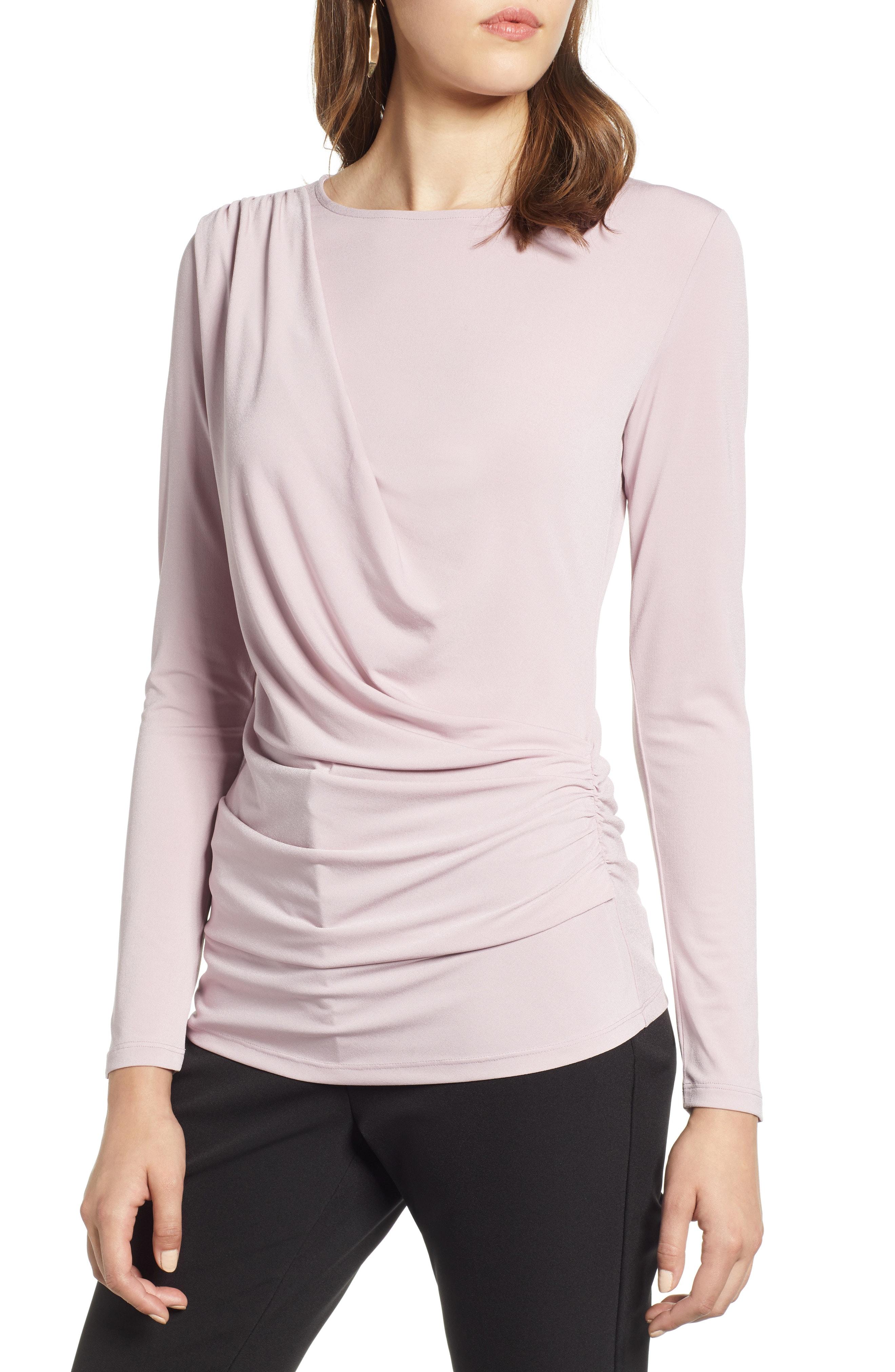 Halogen Drape Front Jersey Top (Regular & Petite)