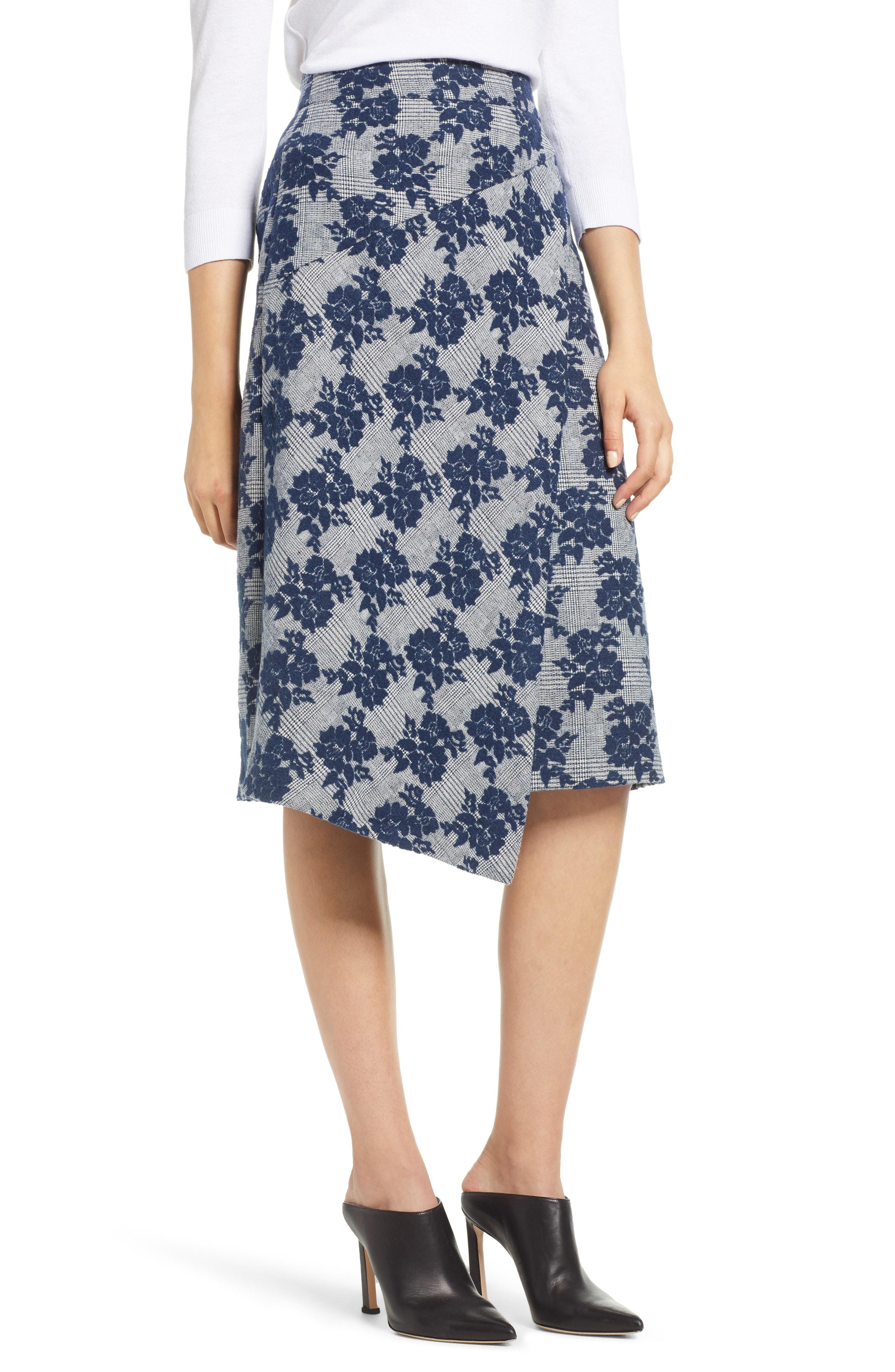 Halogen Floral Plaid Asymmetrical Skirt (Regular & Petite)
