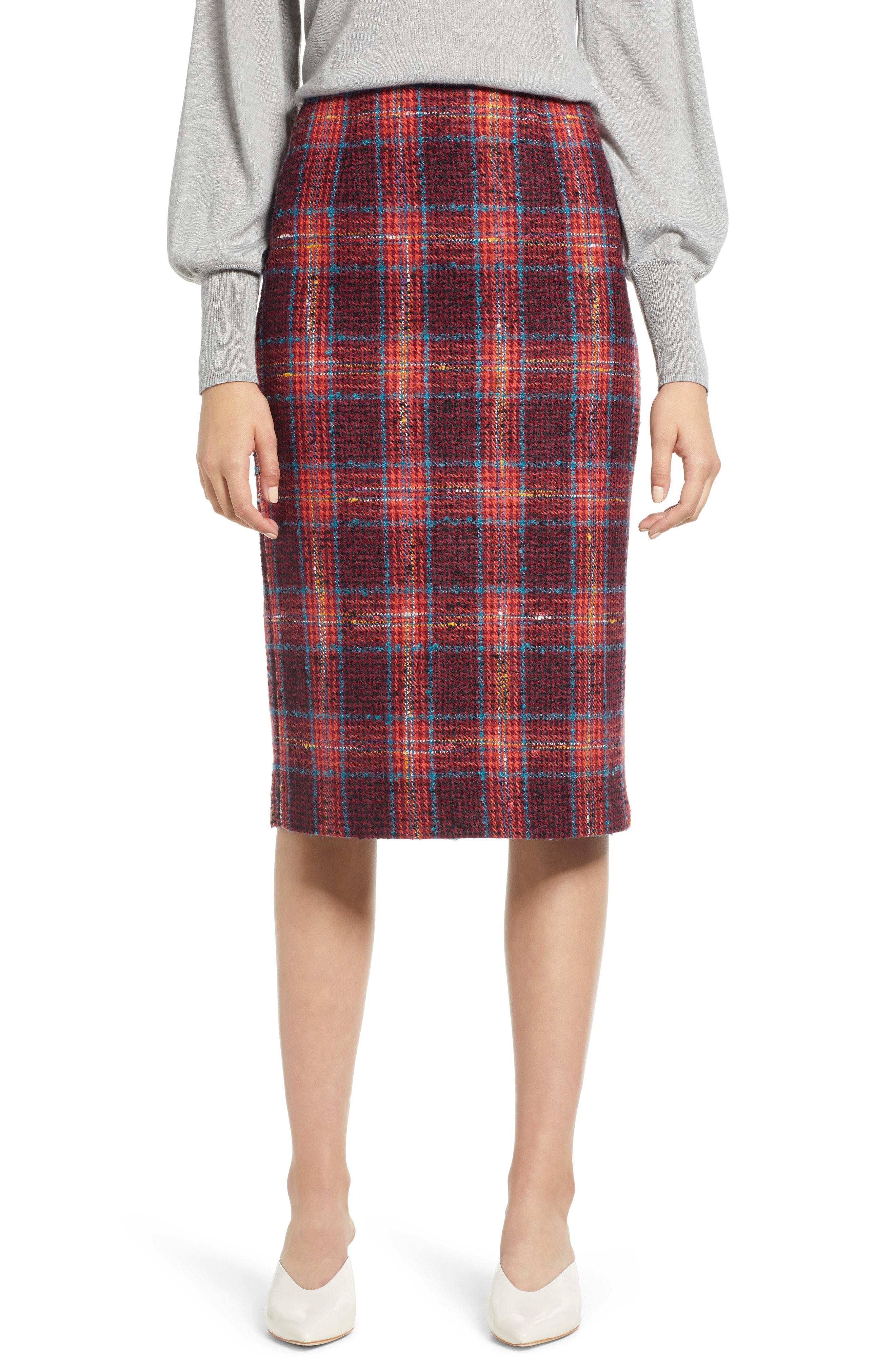 Halogen Plaid Tweed Pencil Skirt (Regular & Petite)