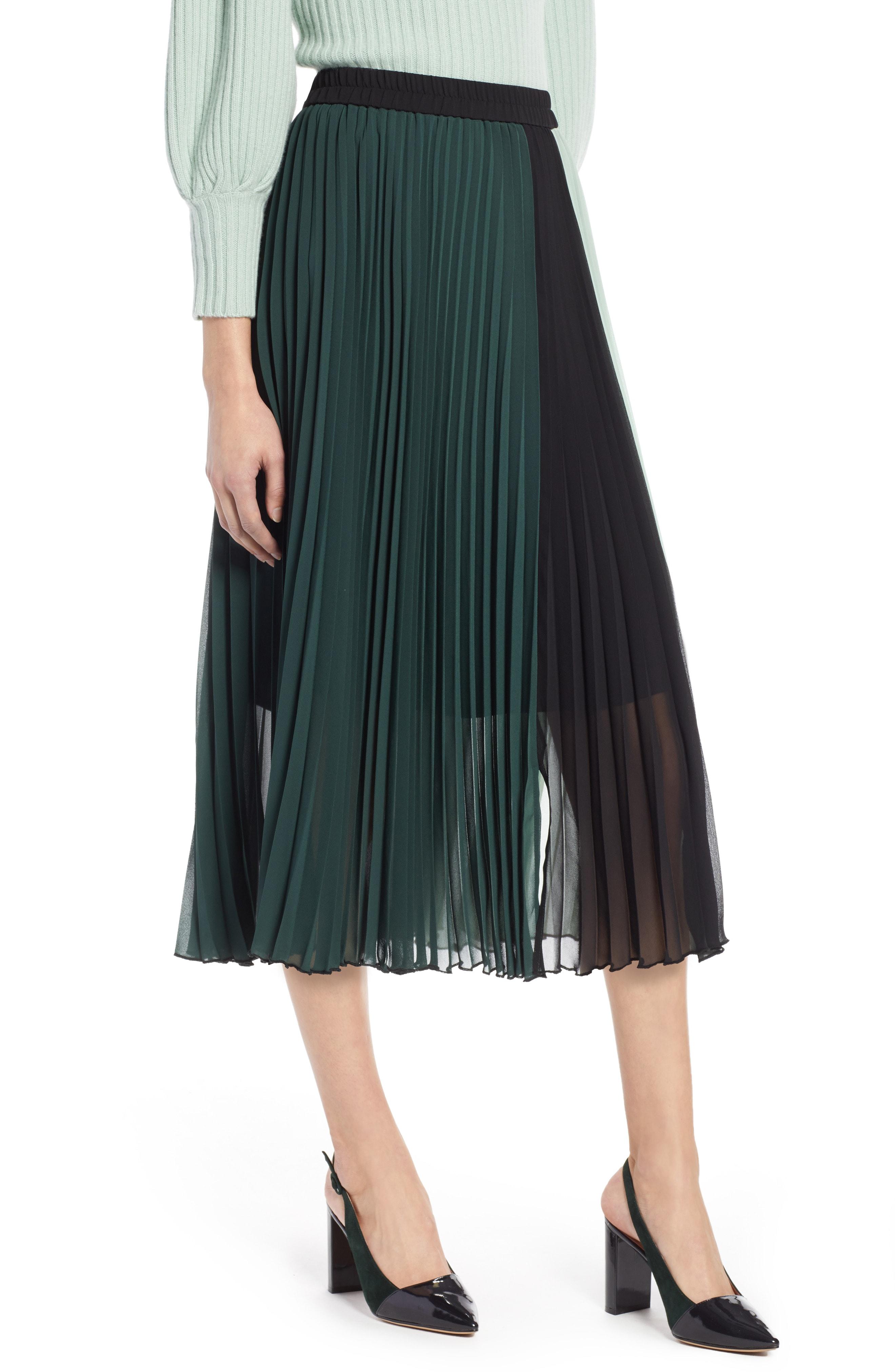 Halogen x Atlantic-Pacific Colorblock Pleated Midi Skirt (Regular & Petite)