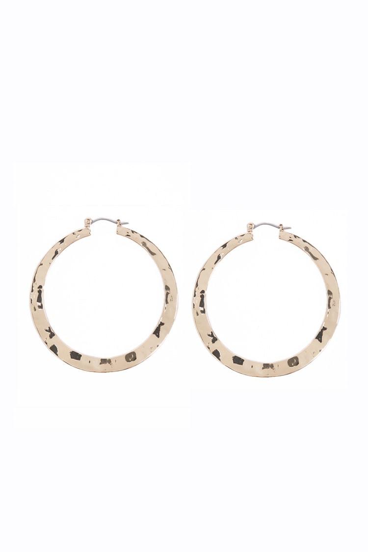 F21 Hammered Hoop Earrings