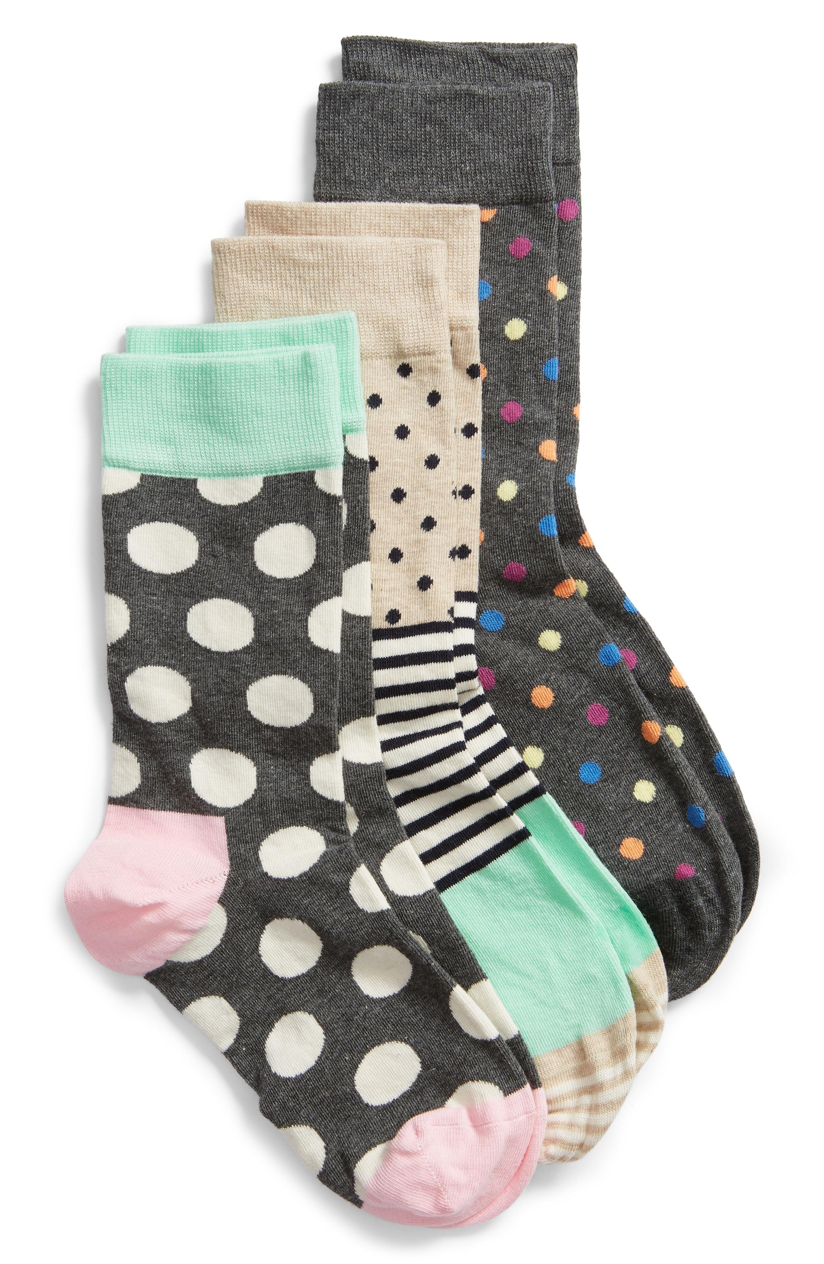 Happy Socks 3-Pack Dot Crew Socks