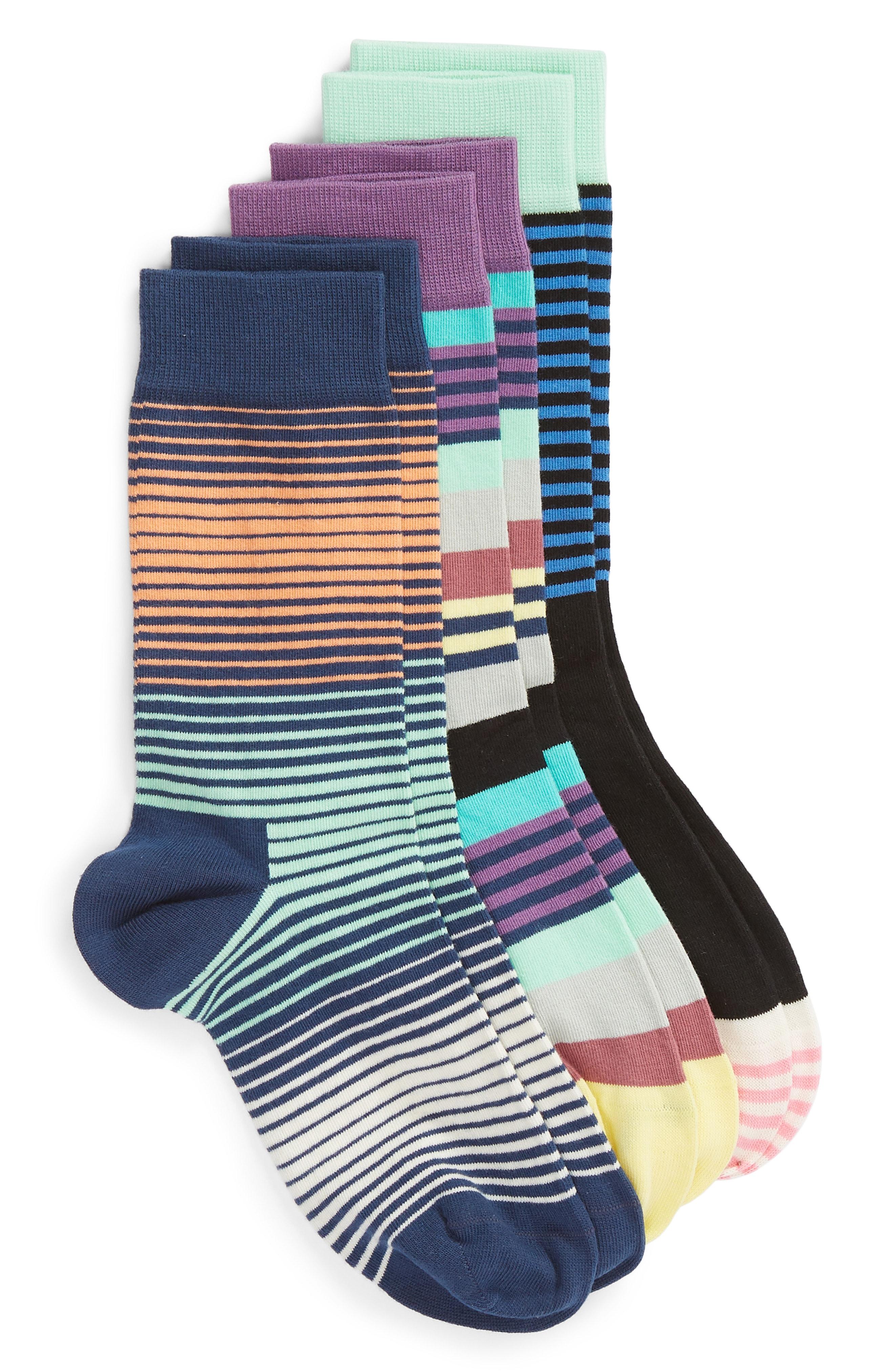 Happy Socks 3-Pack Stripe Crew Socks