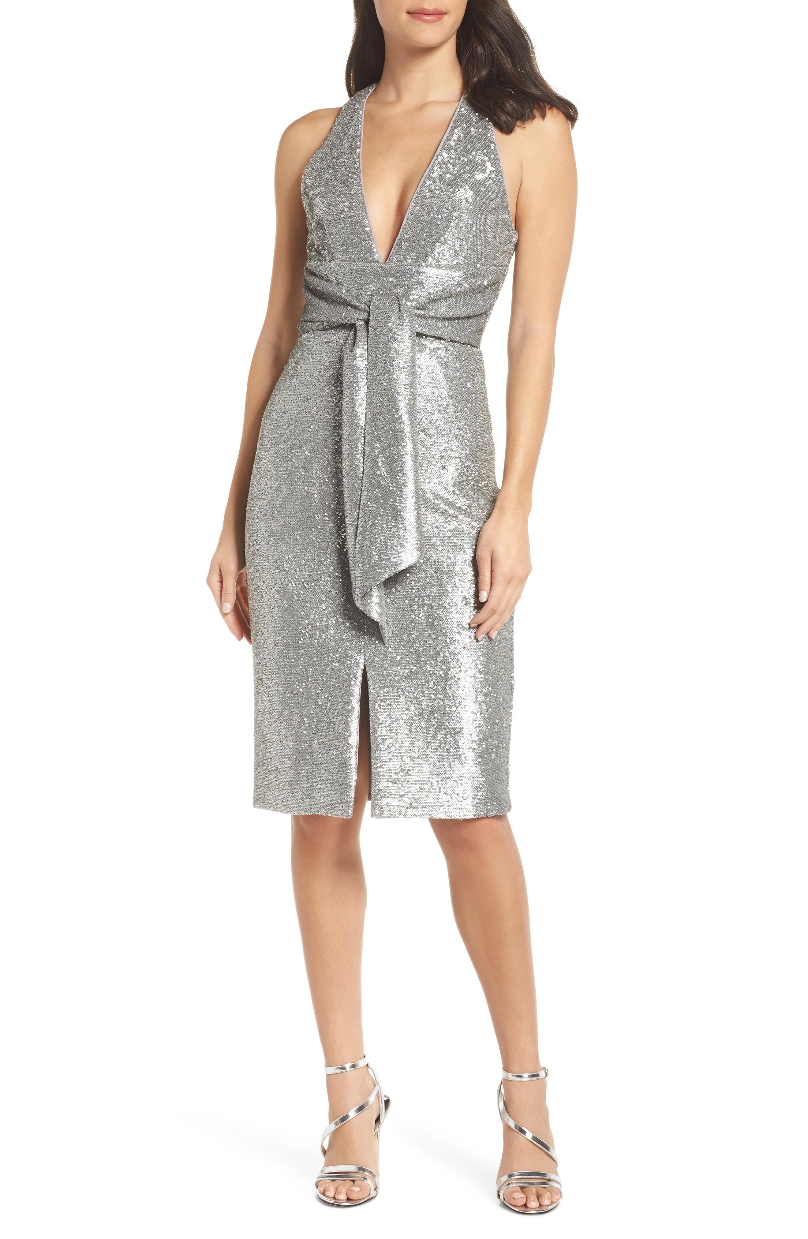Harlyn Plunge Neck Sequin Dress