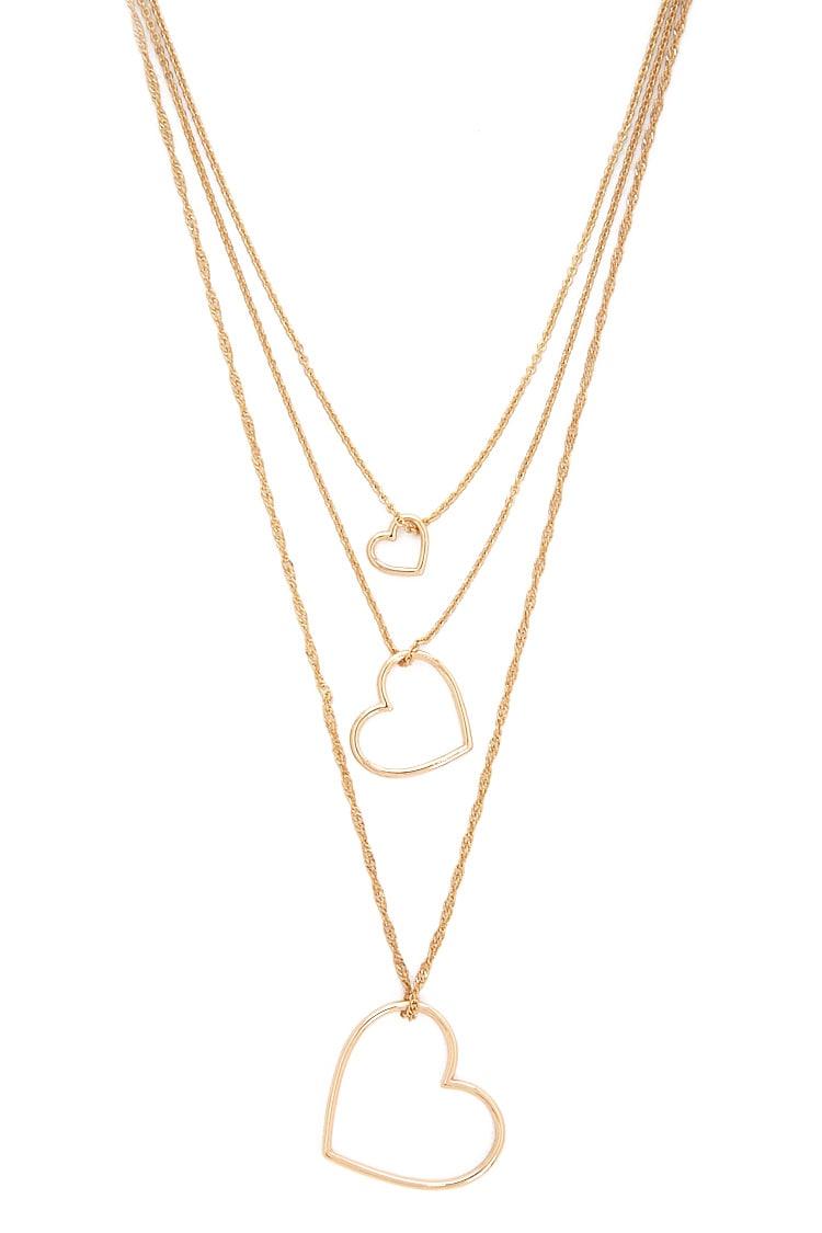 F21 Heart Cutout Pendant Layered Necklace