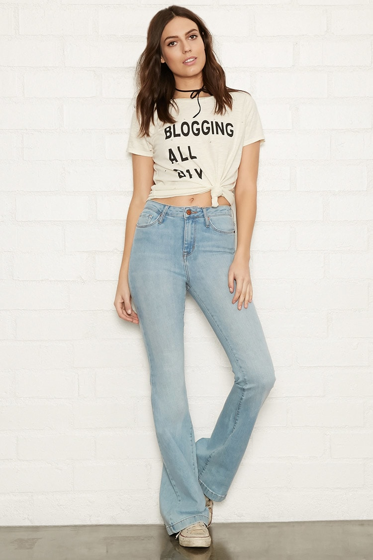 F21 High-Rise Flare Jeans