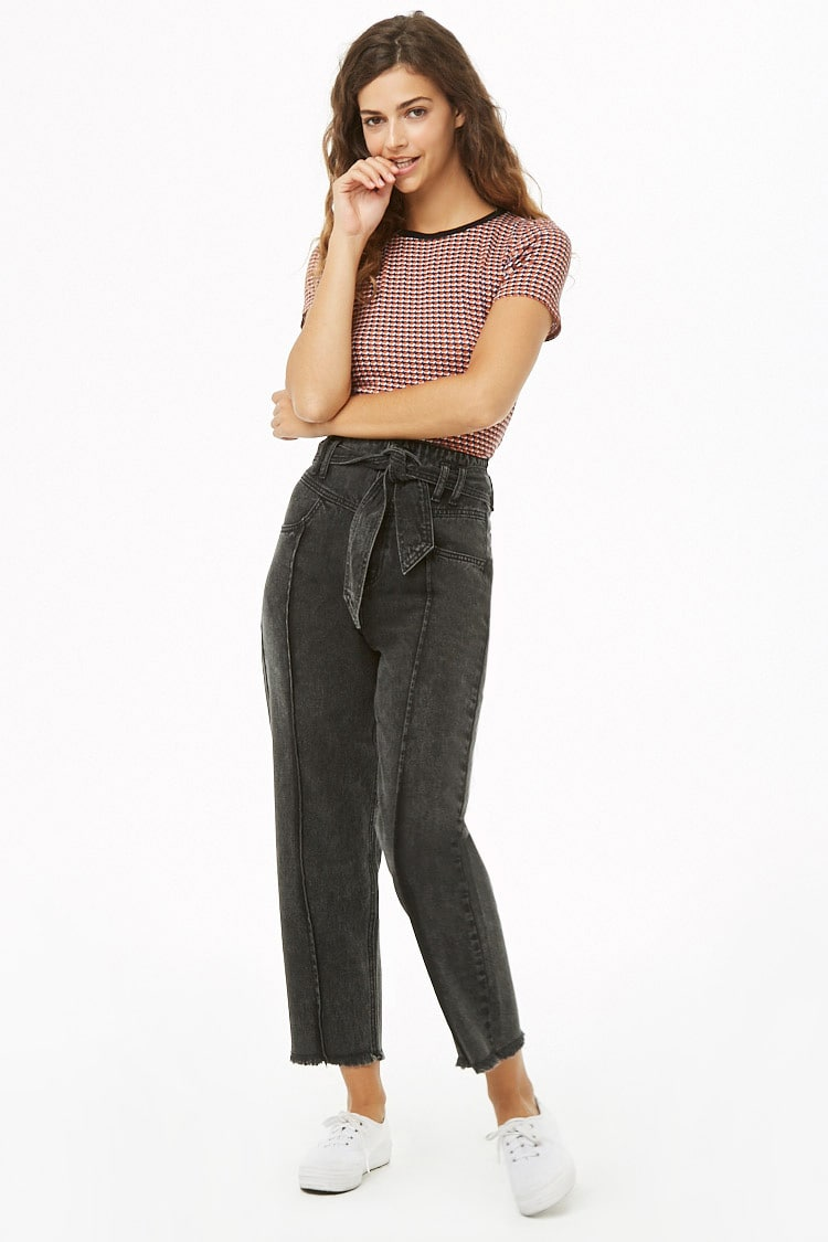 F21 High-Rise Frayed Jeans