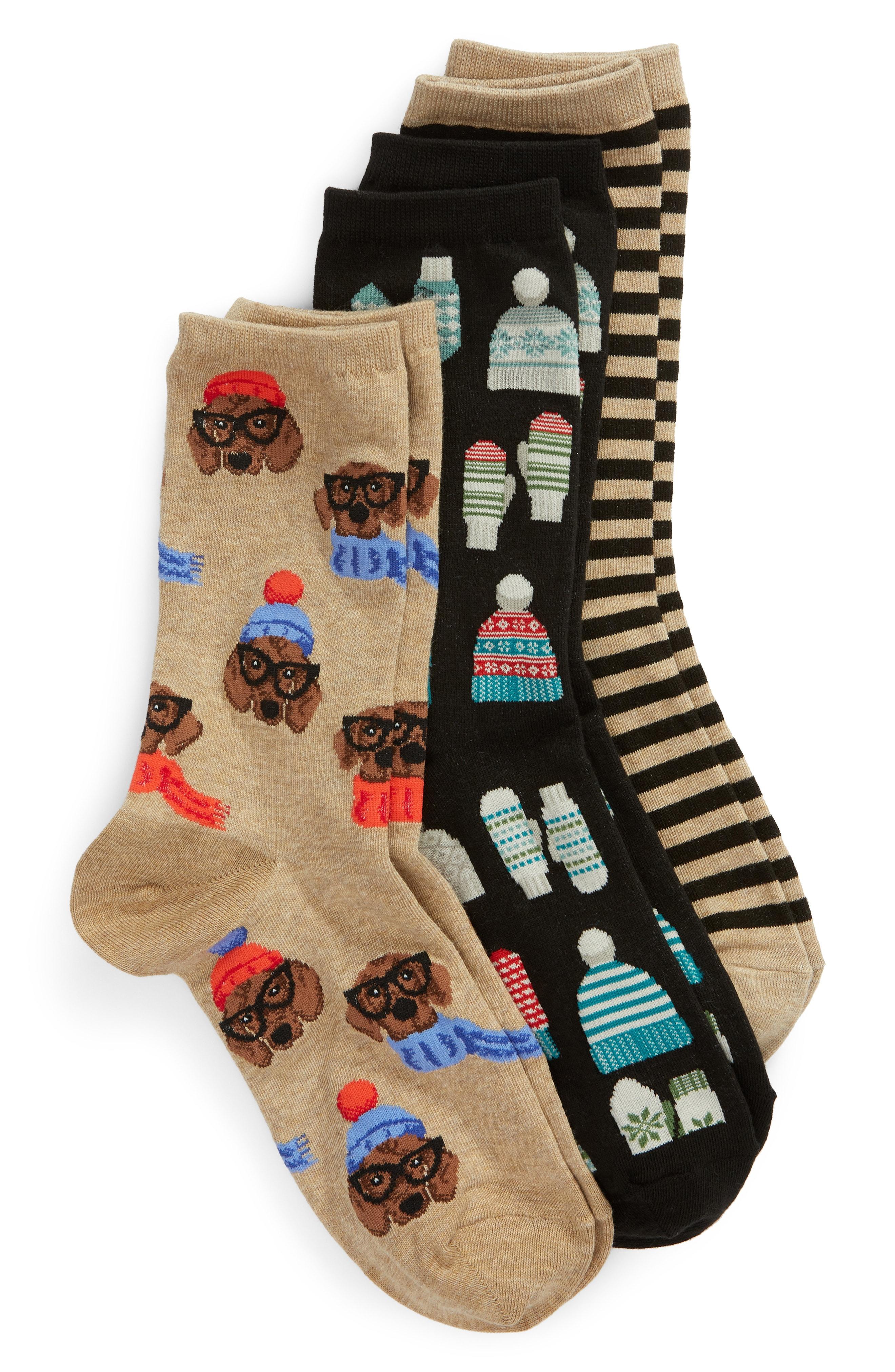 Hot Sox 3-Pack Mittens Socks