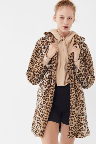 I.AM.GIA Stefani Leopard Print Faux Fur Coat