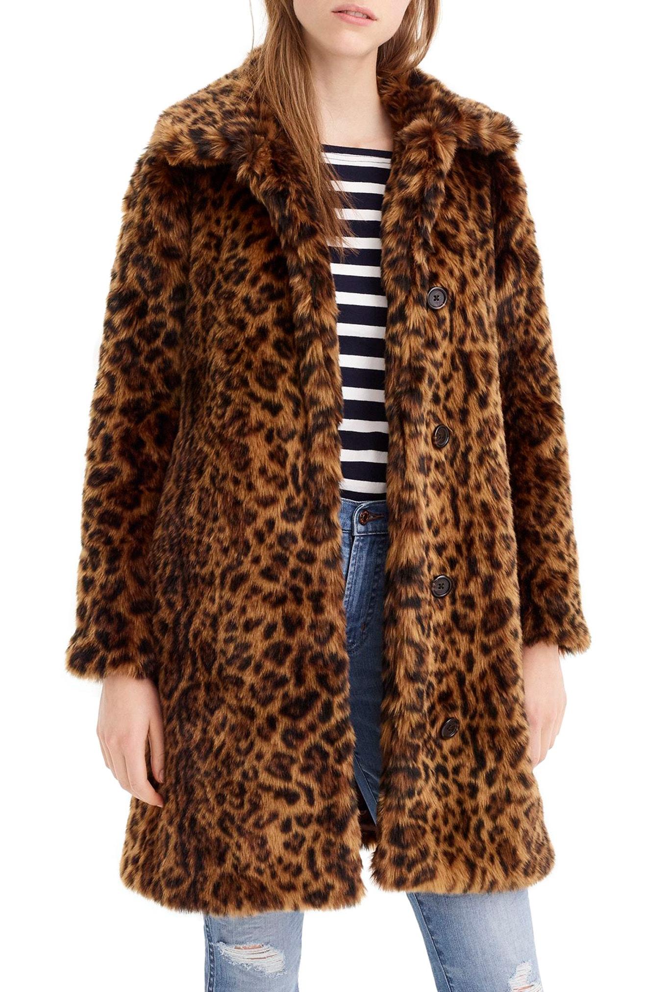 J.Crew Leopard Print Faux Fur Coat (Regular & Plus Size)