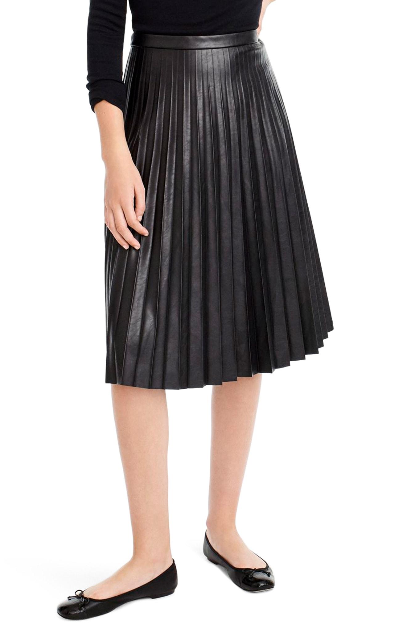 J.Crew Pleat Faux Leather Midi Skirt
