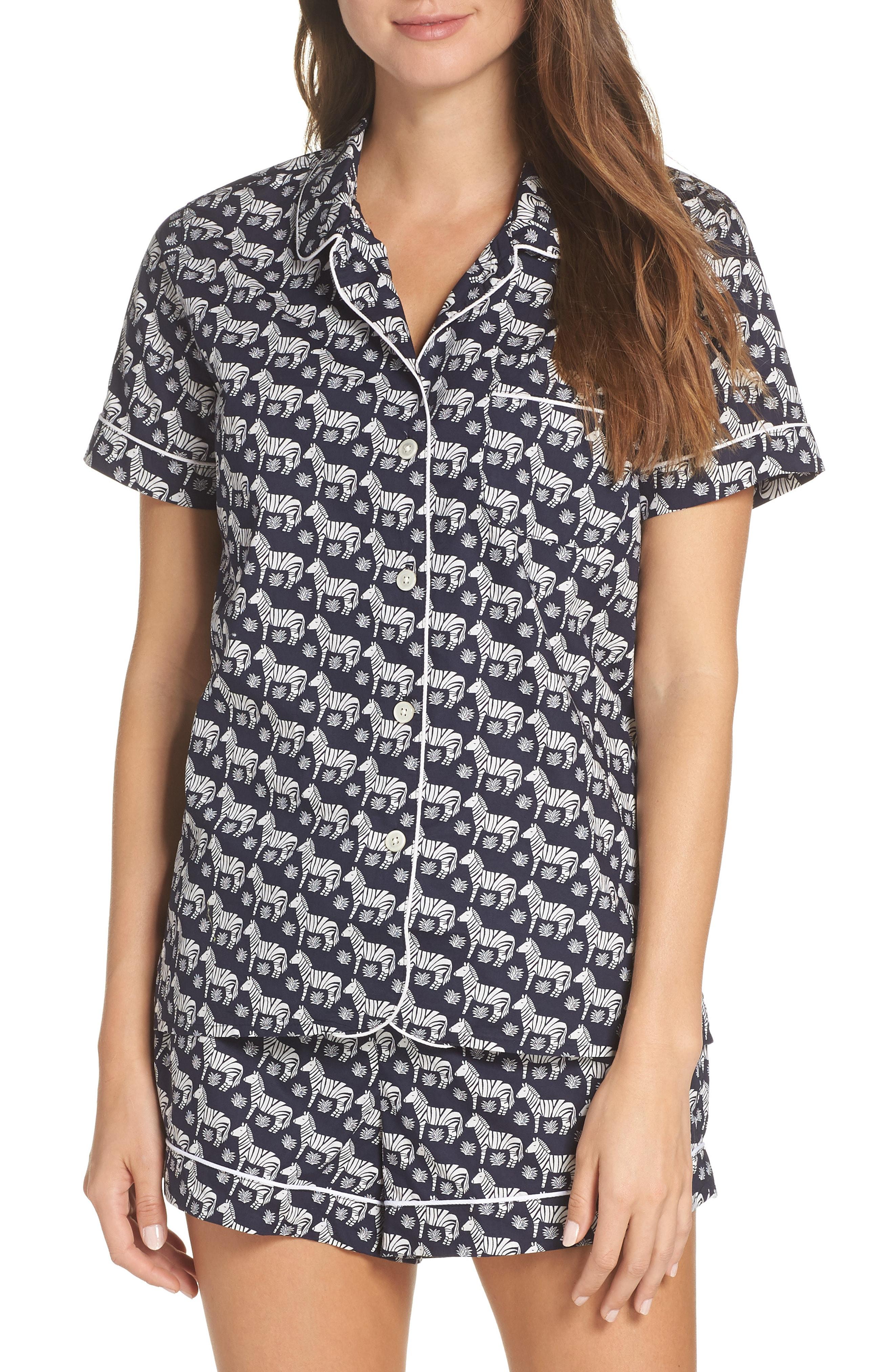 J.Crew Short Sleeve Zebra Cotton Pajamas (Nordstrom Exclusive)