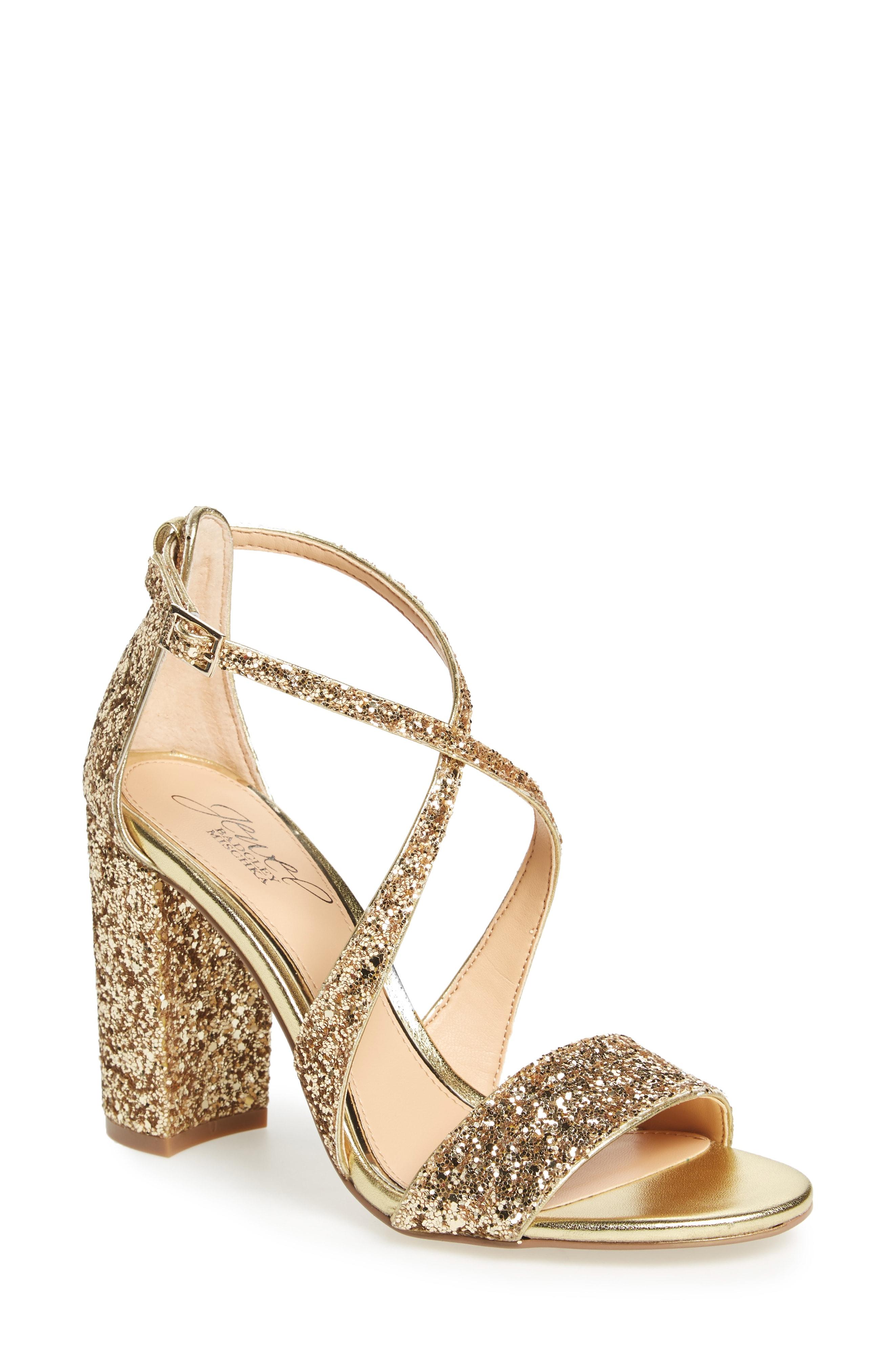 Jewel Badgley Mischka Cook Block Heel Glitter Sandal (Women)